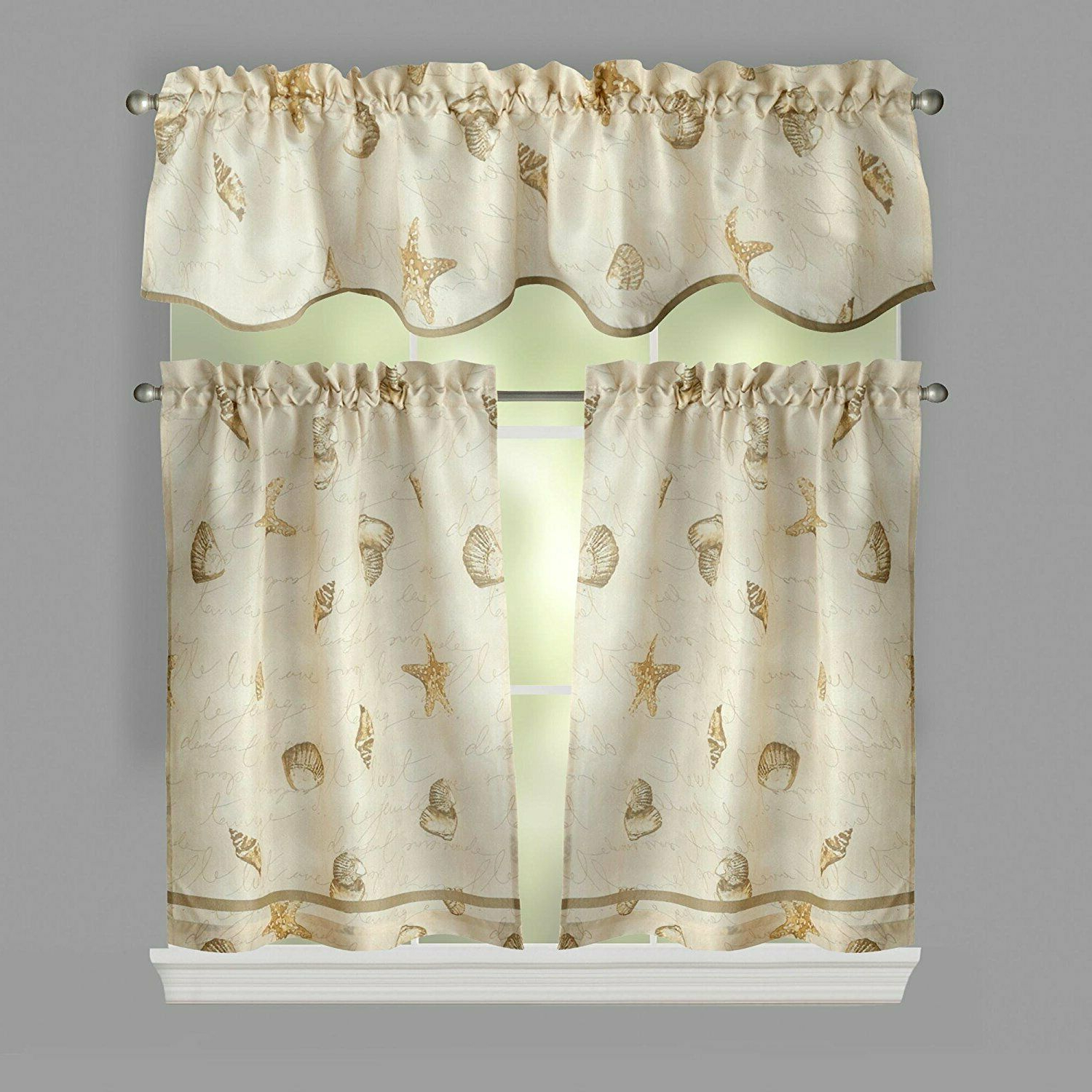 Coastal Tier And Valance Window Curtain Sets For Fashionable Ellery Homestyles 36 Inch Tiers And Valance Curtain Set Shells Seashells (View 6 of 20)