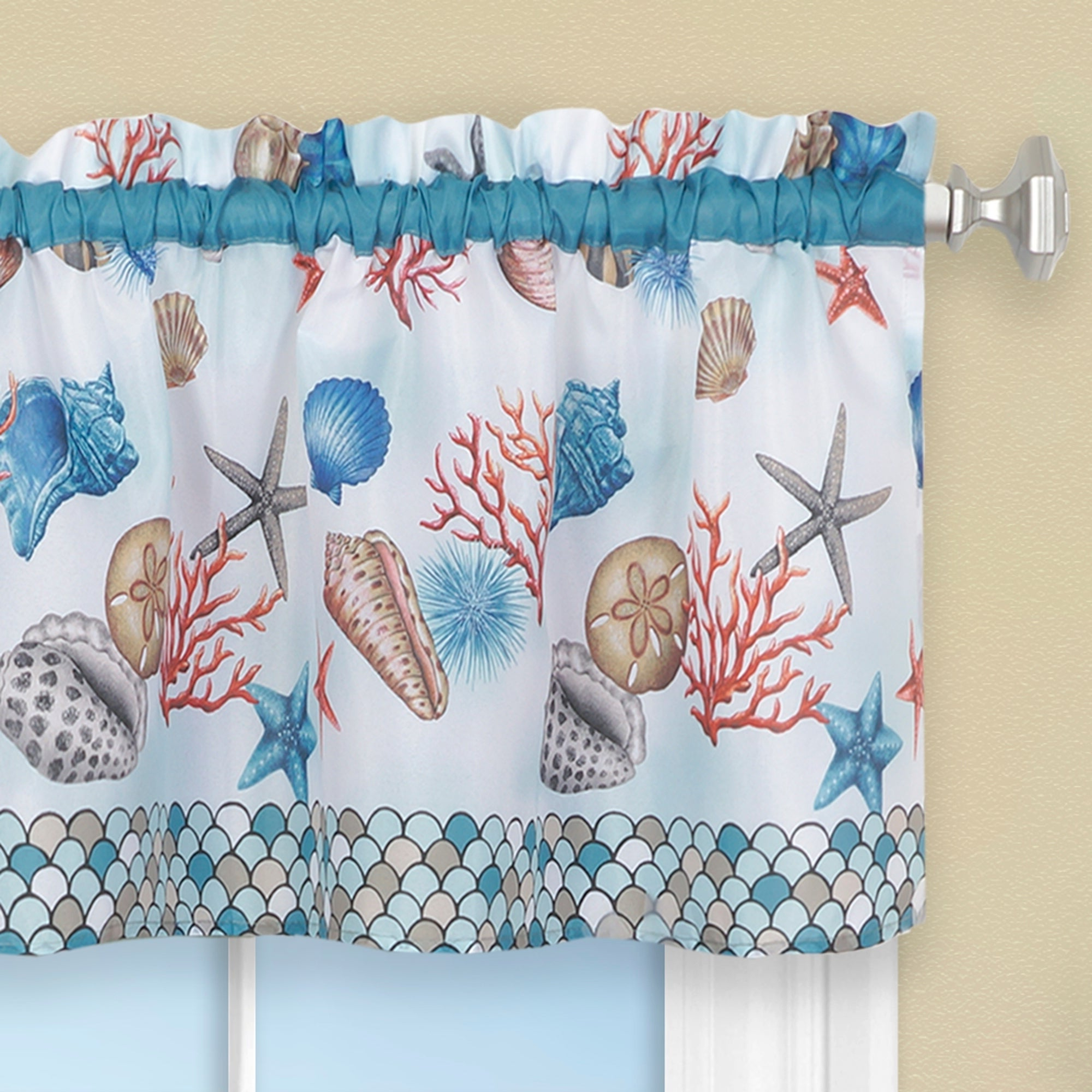 Coastal Tier And Valance Window Curtain Sets Intended For Current Coastal Tier And Valance Window Curtain Set – Blue (View 2 of 20)