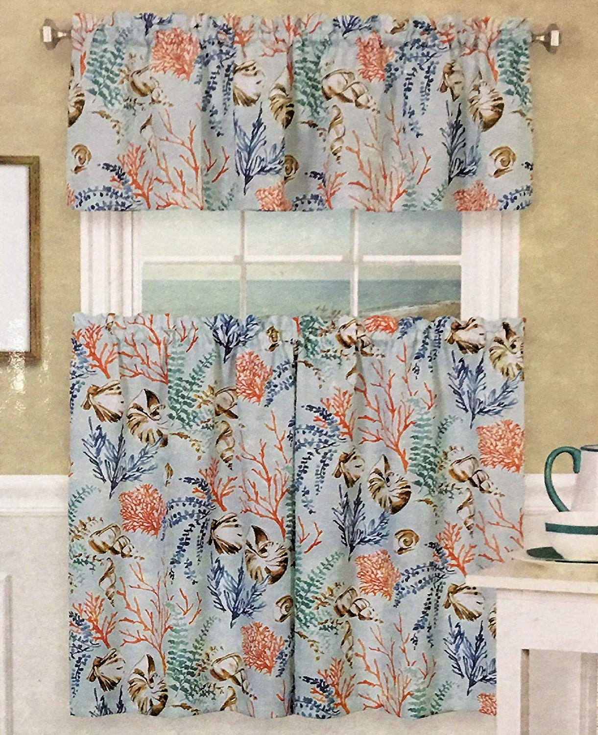 Coastal Tier And Valance Window Curtain Sets Regarding Most Up To Date Amazon: Elrene Home Coastal Setting Design Crafted With (View 10 of 20)