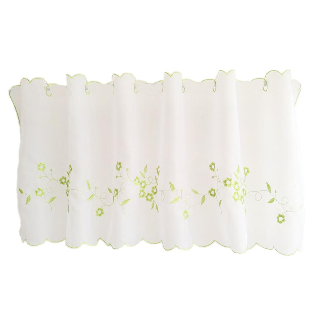 Coffee Drinks Embroidered Window Valances And Tiers Intended For Favorite Fityle Embroidered Window Tiers Kitchen Cafe Half Curtains Green 45X120Cm (View 5 of 20)