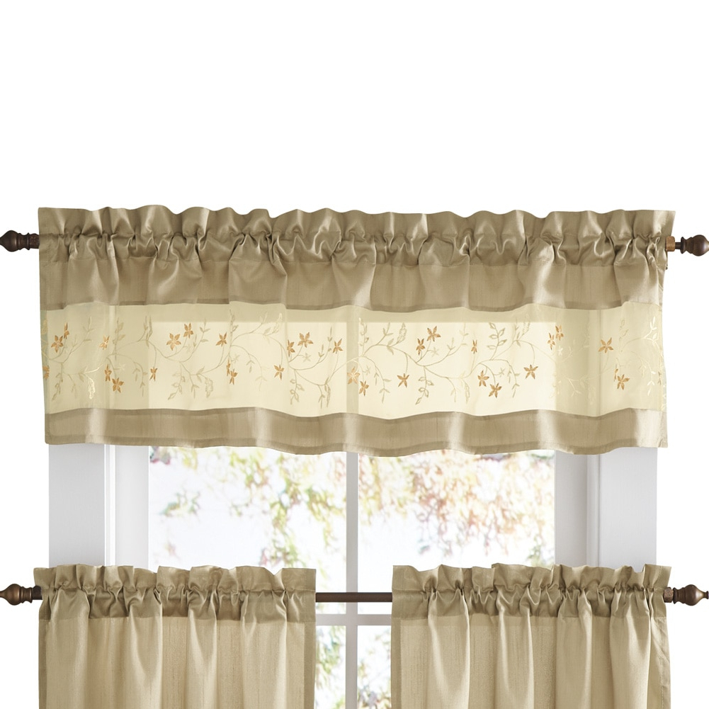 Coffee Drinks Embroidered Window Valances And Tiers Pertaining To Recent Embroidered Vines Fairfield Rod Pocket Kitchen Cafe Curtain, Valance, Taupe (View 6 of 20)