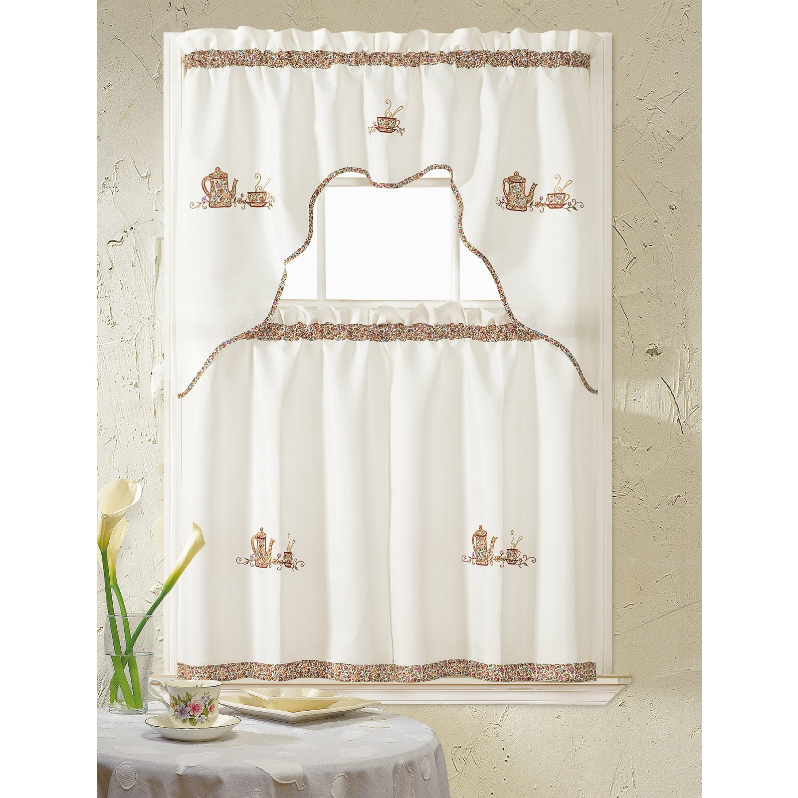 Coffee Embroidered Kitchen Curtain Tier Sets Inside Well Liked Rt Designers Collection Grand Coffee Embroidered Kitchen (View 2 of 20)