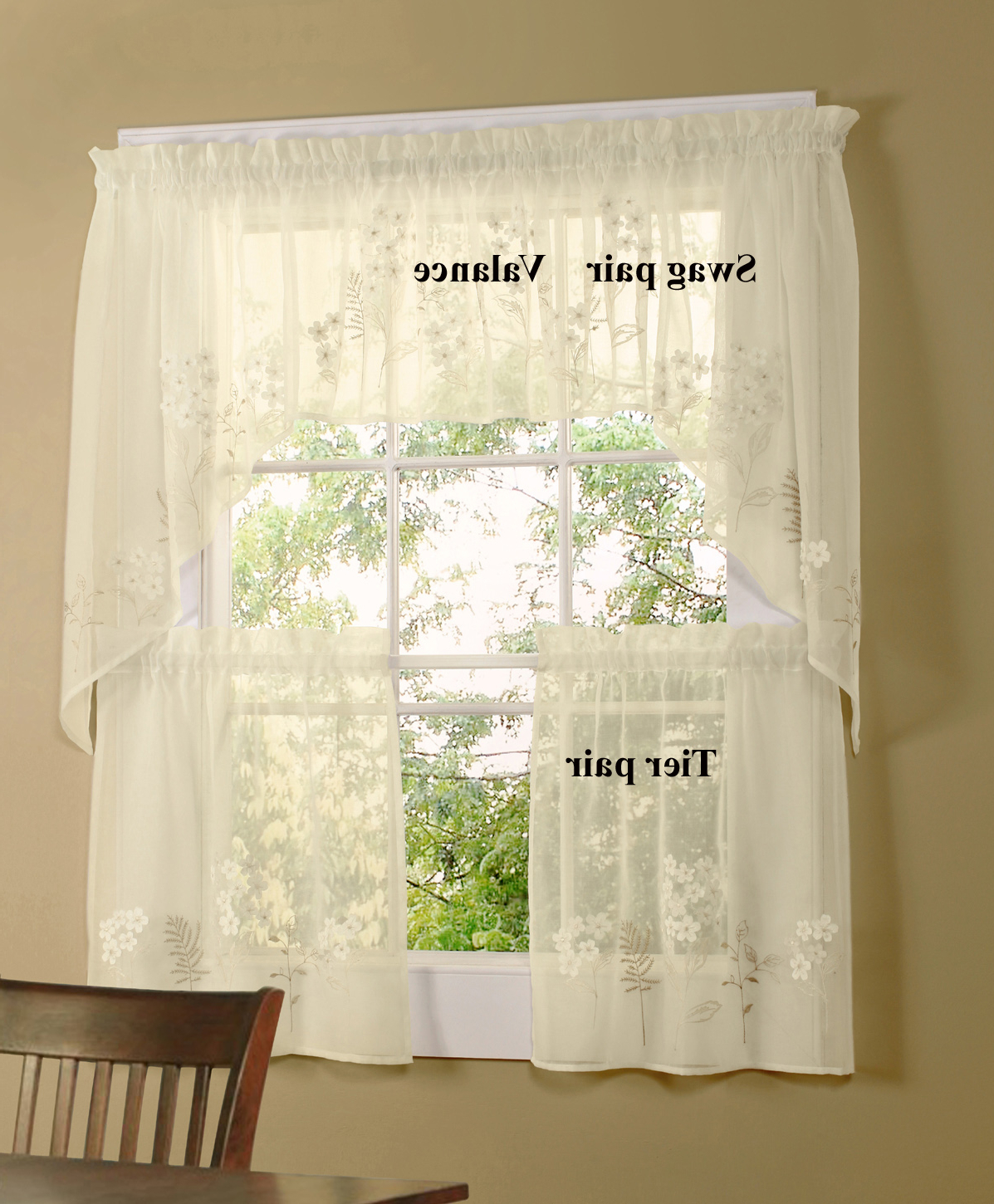Coffee Embroidered Kitchen Curtain Tier Sets Pertaining To Best And Newest Hydrangea Bouquet Faux Linen Semi Sheer Cafe Curtain, Swag, And Valance (View 18 of 20)