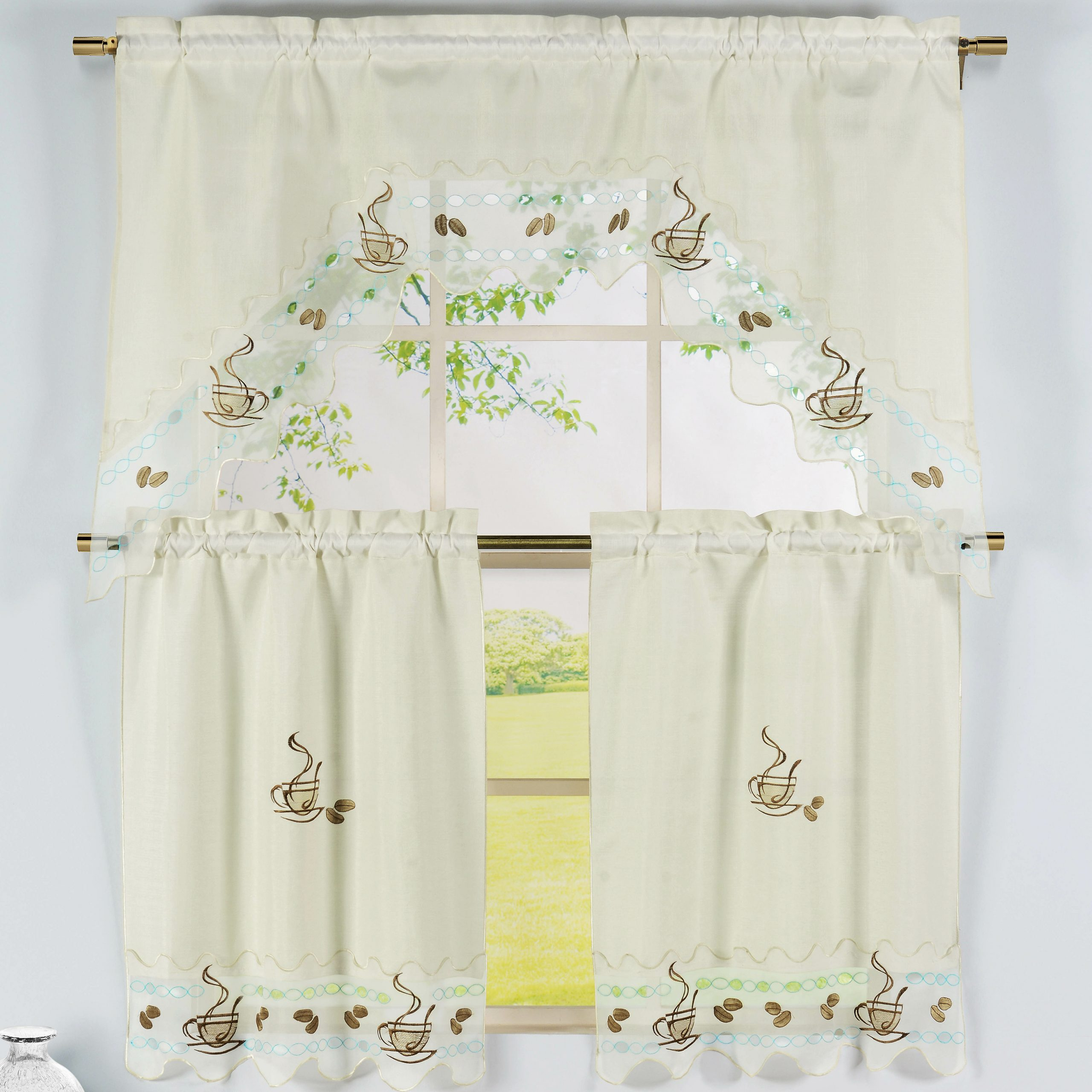 Coffee Talk 3 Piece Embroidered Kitchen Valance And Tier Set In Most Popular Coffee Embroidered Kitchen Curtain Tier Sets (View 7 of 20)