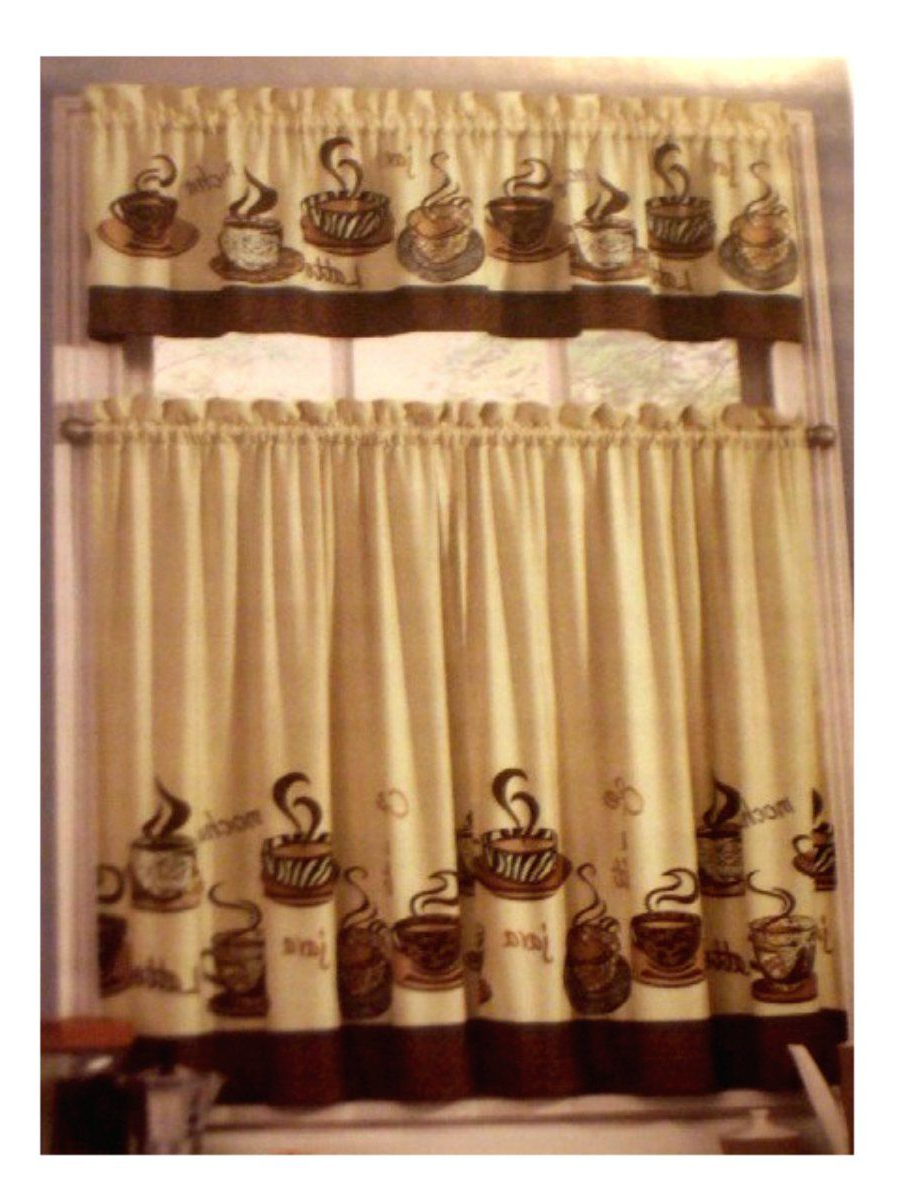 Coffee Themed Kitchen Curtains Tiers Valance Set In 2019 Regarding 2021 Embroidered 'coffee Cup' 5 Piece Kitchen Curtain Sets (View 13 of 20)