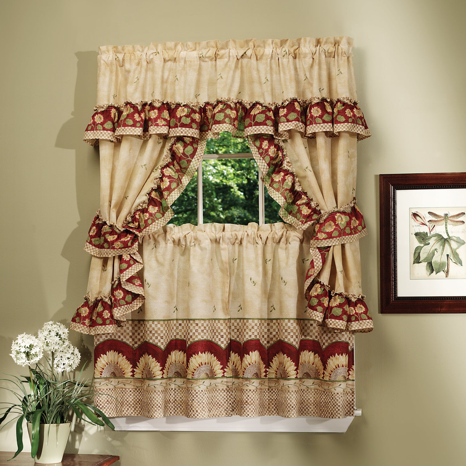 Complete Cottage Curtain Set With A Country Style Sunflower Print – 36 Inch Inside Best And Newest Window Curtains Sets With Colorful Marketplace Vegetable And Sunflower Print (View 3 of 20)