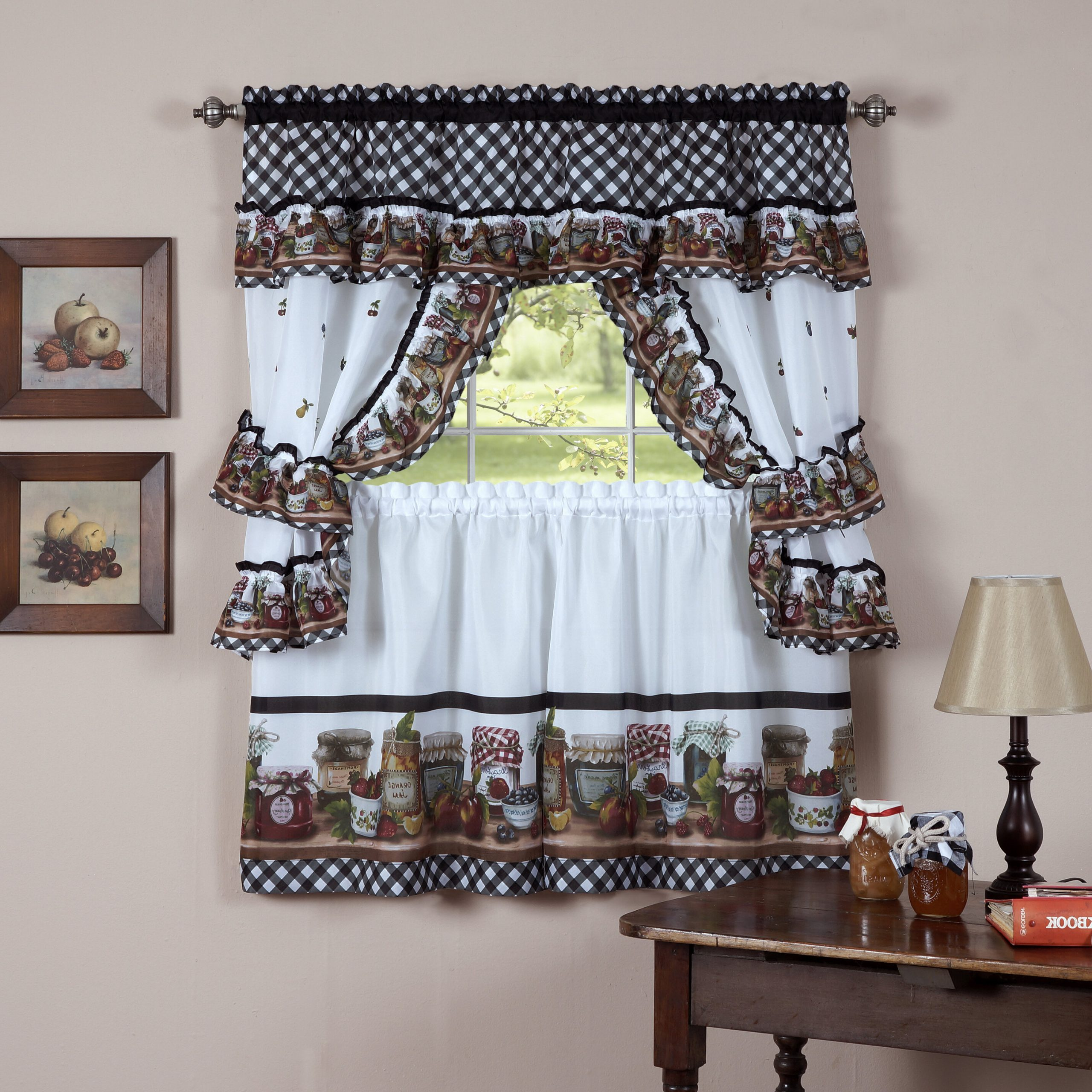 Complete Cottage Curtain Sets With An Antique And Aubergine Grapvine Print Intended For 2021 Guimauve Mason Jar Cottage Kitchen Window Floral/flower Rod Pocket Set (View 2 of 20)