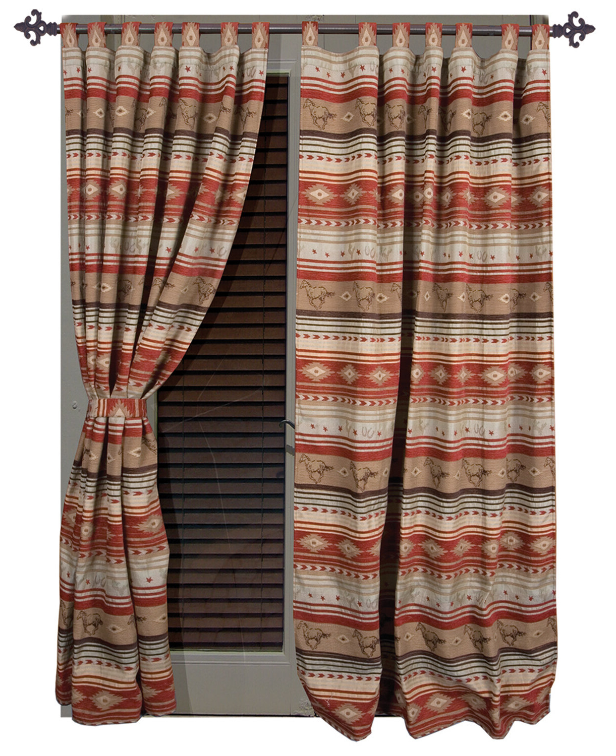 Complete Cottage Curtain Sets With An Antique And Aubergine Grapvine Print Within Most Recently Released Suhel Striped Tab Top Curtain Panels (View 3 of 20)