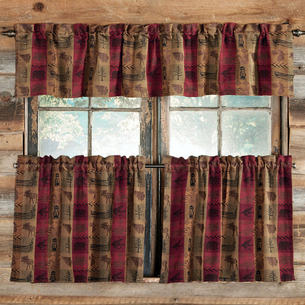 Cool Cabin Decor Kitchen Curtains Wall Art Cute Styles Homes Within Famous Red Rustic Kitchen Curtains (View 11 of 20)