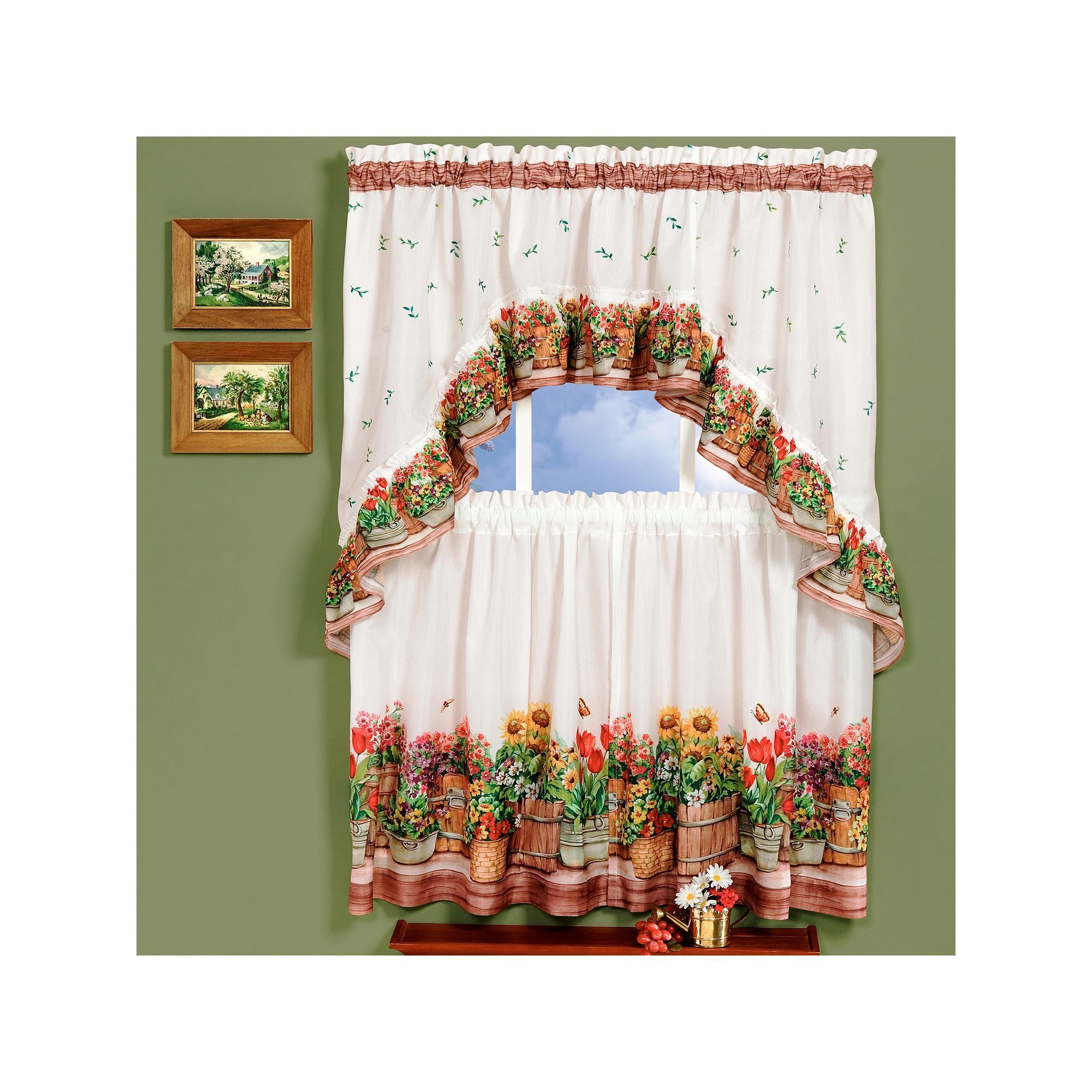 Cottage Ivy Curtain Tiers In Recent Country Garden 3 Piece Swag Tier Kitchen Window Curtain Set (View 11 of 20)
