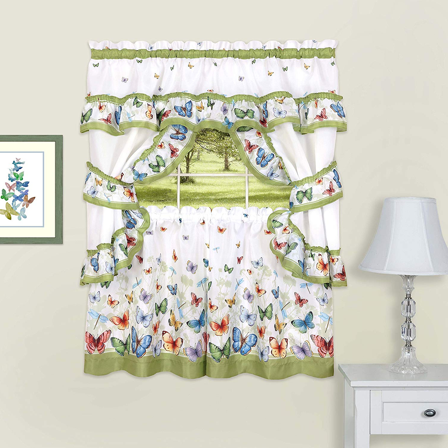 """Cottage Ivy Curtain Tiers With Popular Achim Home Furnishings Butterflies Printed Cottage Window Curtain Set, 57"""" X 24"""", Green (View 3 of 20)"""