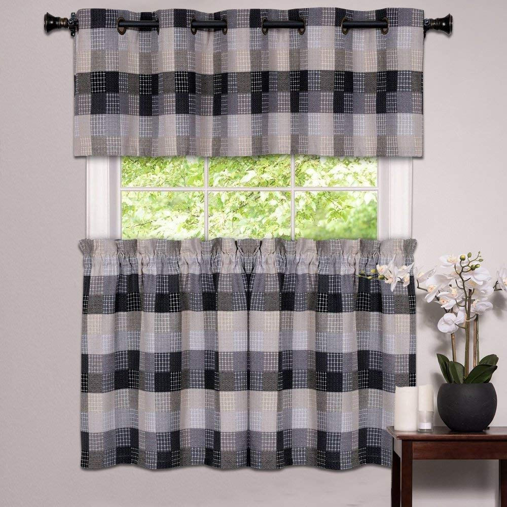 Featured Photo of Cotton Blend Classic Checkered Decorative Window Curtains