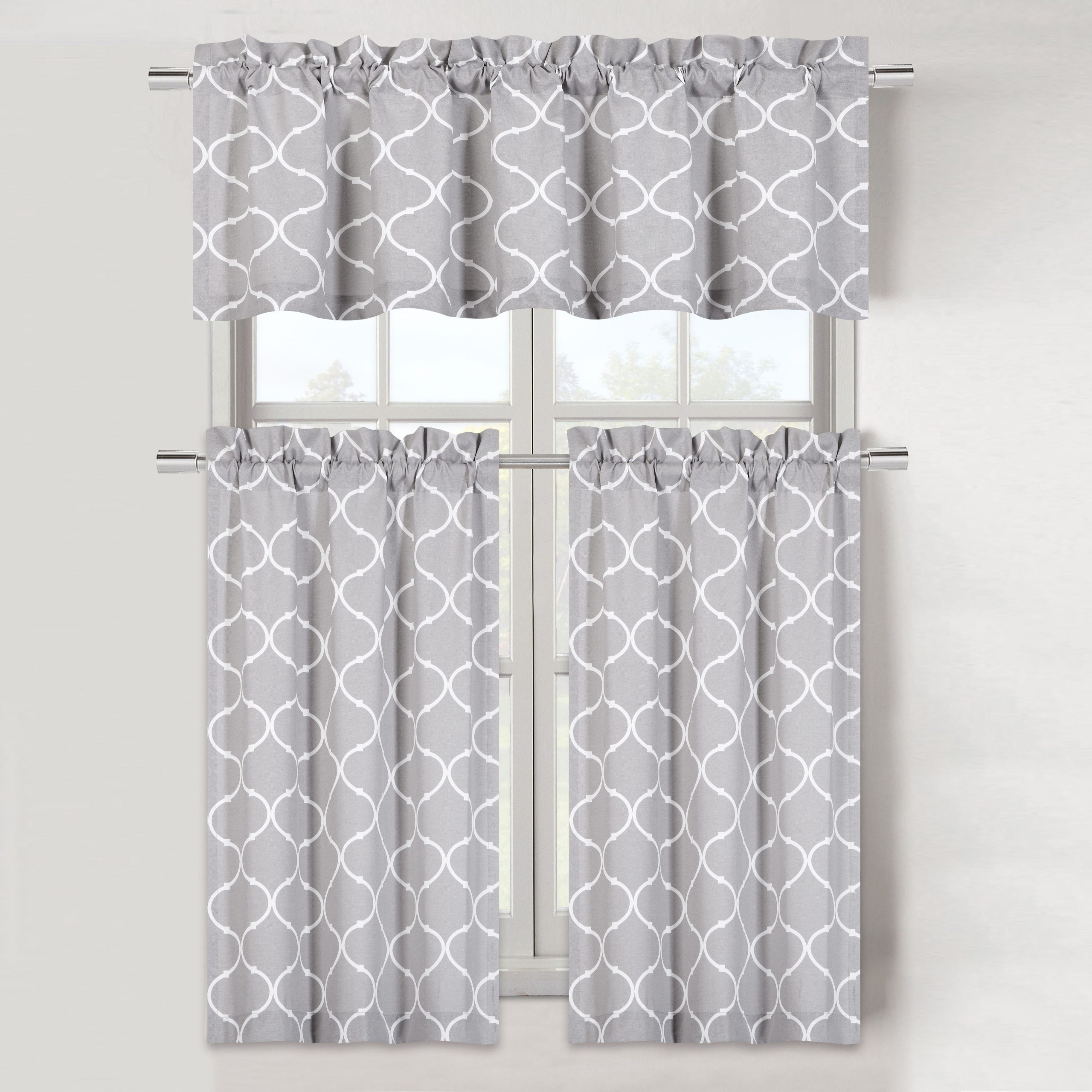 Cotton Blend Grey Kitchen Curtain Tiers For Most Recently Released Maison Trellis Cotton Blend Kitchen Curtain Tier & Valance Set – Gray (View 5 of 20)