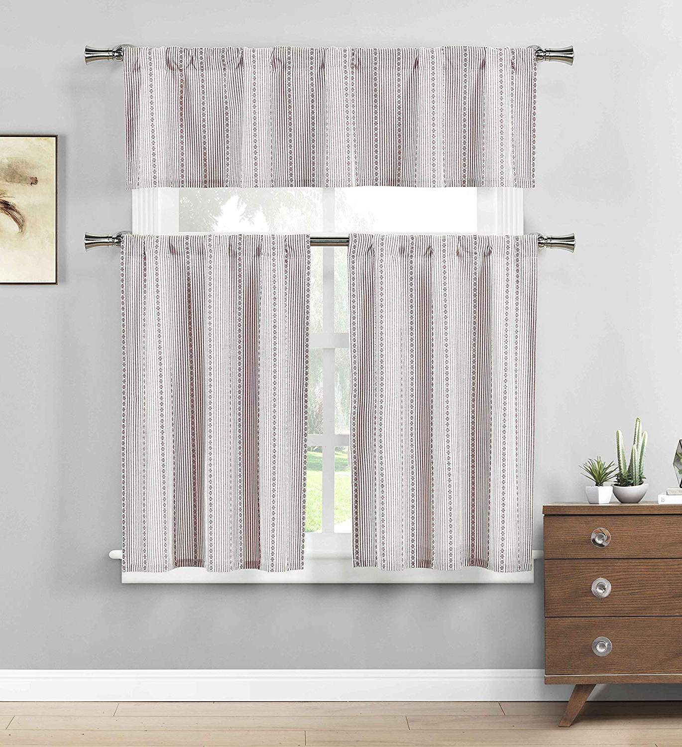 Cotton Blend Grey Kitchen Curtain Tiers In Preferred Three Piece Cotton Rich Kitchen/cafe Tier Window Curtain Set: Striped  Pattern (Gray) (View 7 of 20)