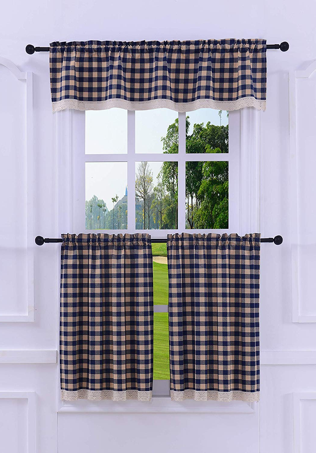 Cotton Blend Grey Kitchen Curtain Tiers Pertaining To 2020 3 Pieces Kitchen Curtain Tier And Valance Set Checkered Cotton Blend Navy  Blue (View 8 of 20)