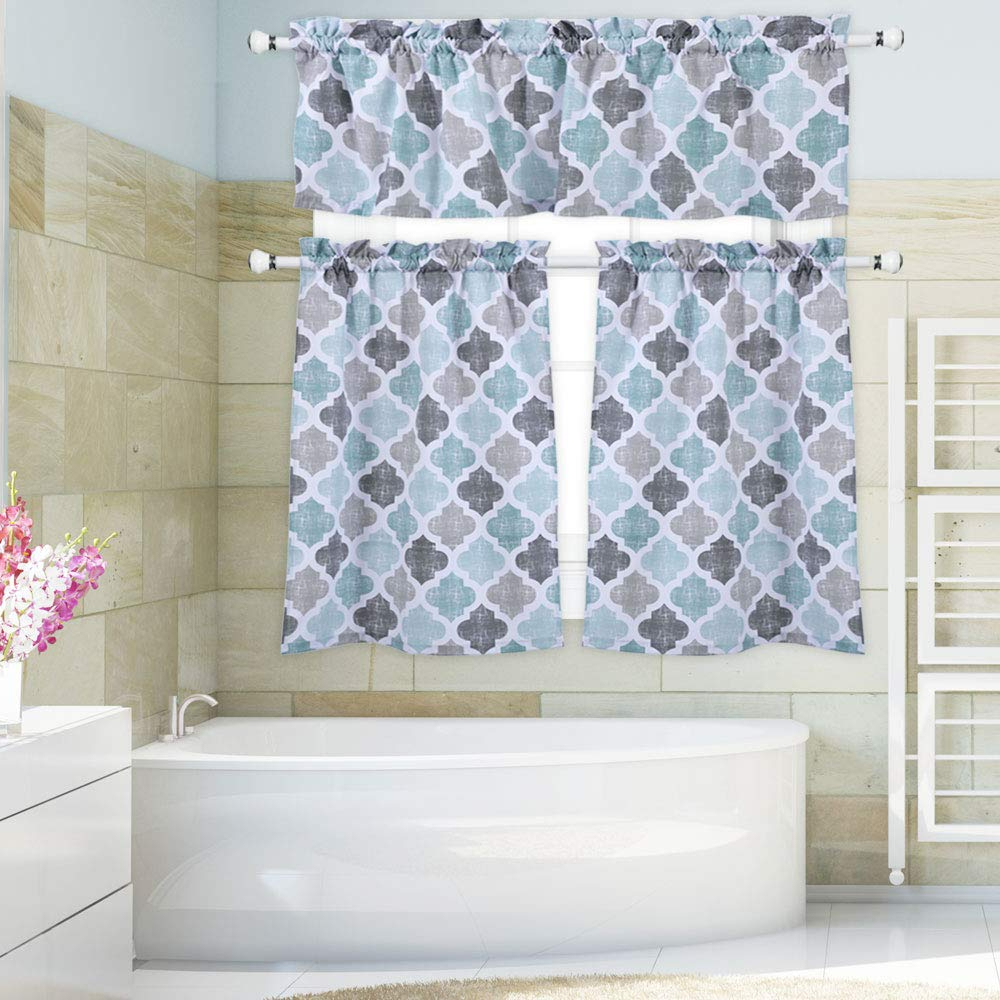 Cotton Blend Grey Kitchen Curtain Tiers Regarding Most Recently Released Trellis Pattern Cotton Blend Tier Curtains And Valance Set (View 9 of 20)