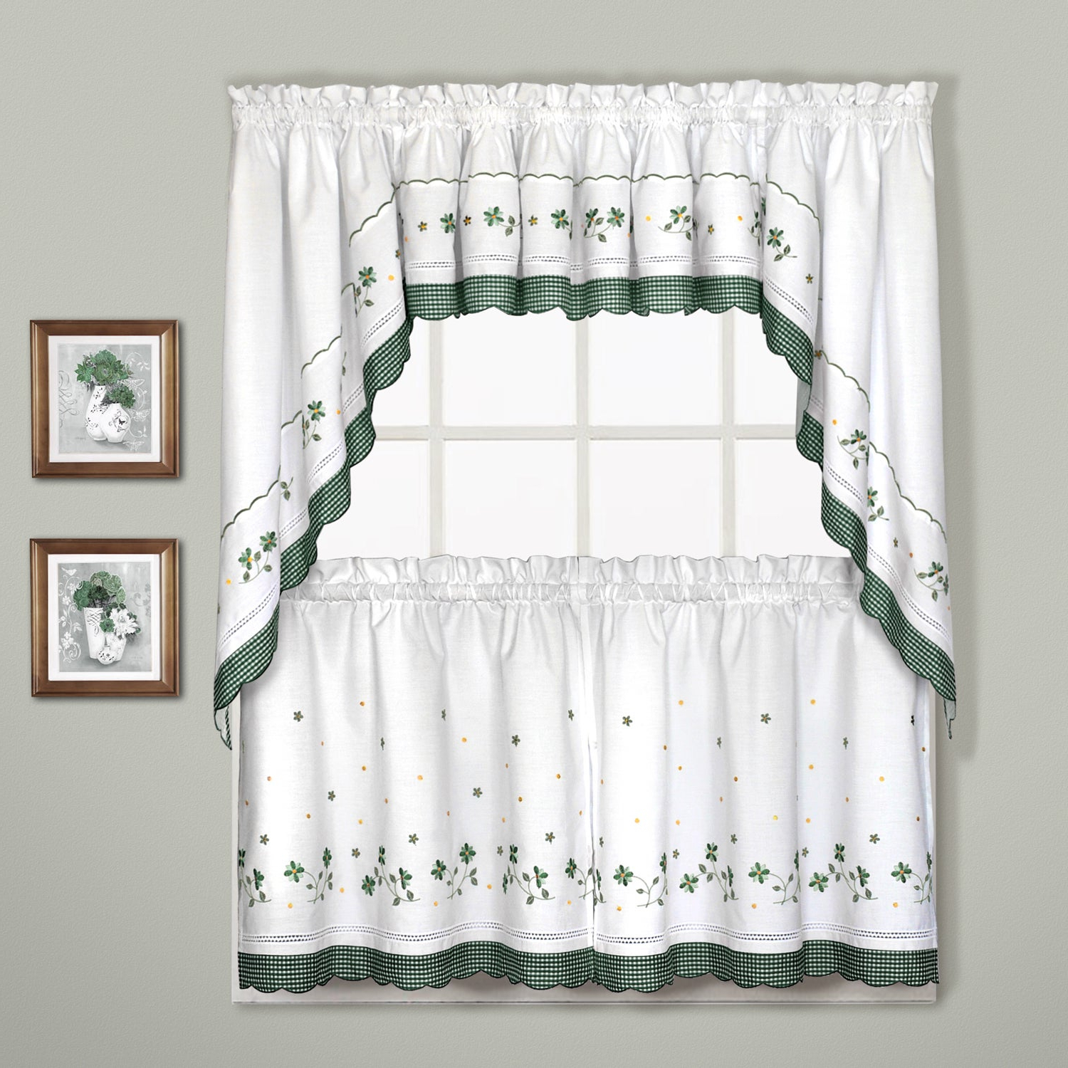 Cotton Blend Ivy Floral Tier Curtain And Swag Sets Inside Fashionable Luxury Collection Gingham Light Filtering Straight Valance (View 8 of 20)