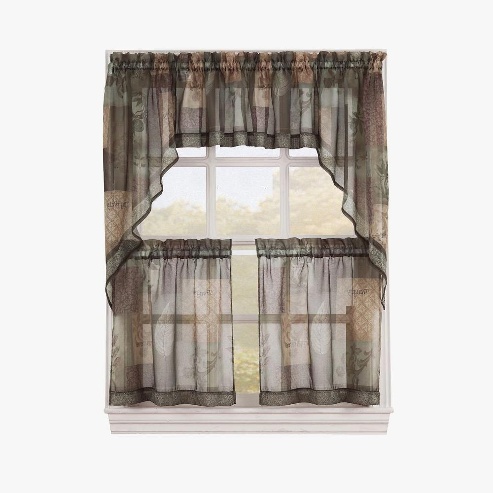 Cotton Blend Ivy Floral Tier Curtain And Swag Sets Inside Most Current Gratifying Green Kitchen Curtains – Camata (View 14 of 20)
