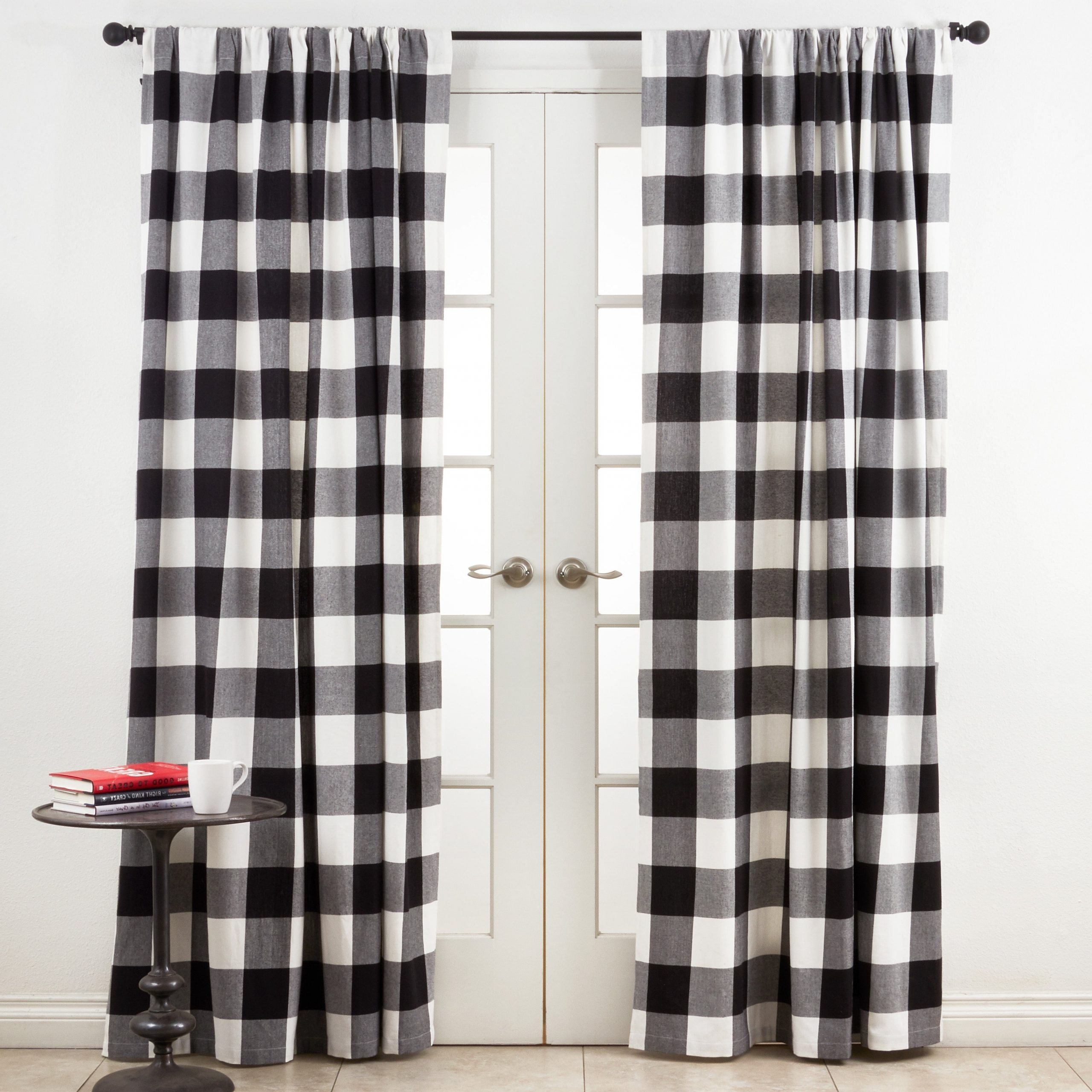 Cotton Buffalo Plaid Curtains Pertaining To Well Known Grandin Curtain Valances In Black (View 15 of 20)