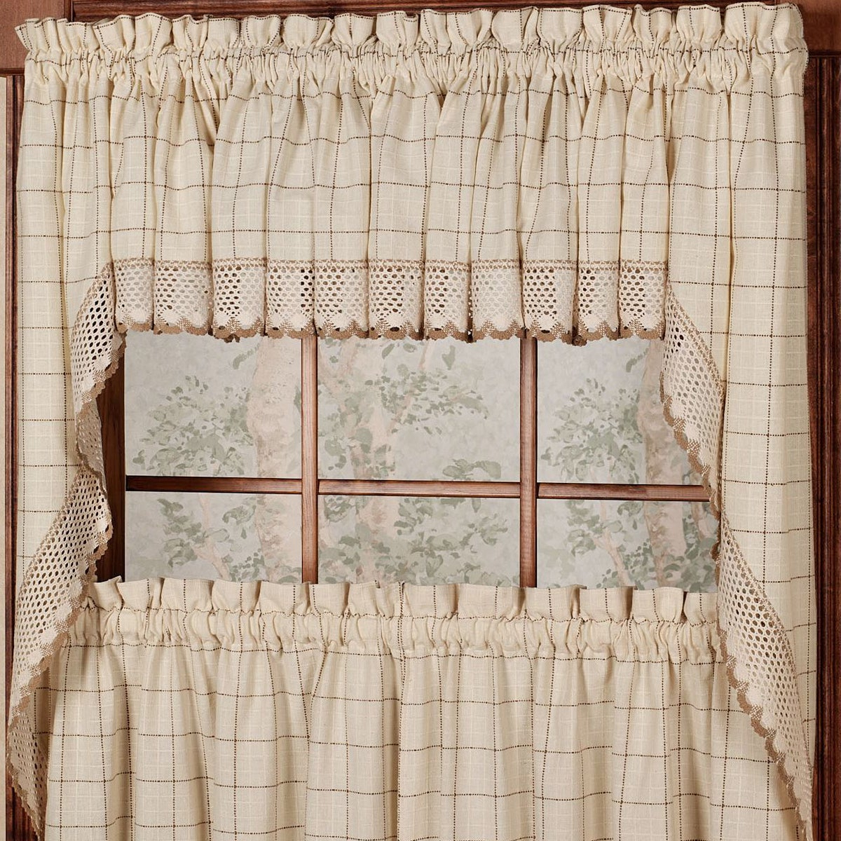 Cotton Classic Toast Window Pane Pattern And Crotchet Trim Tiers, Swags And Valance Options Within Famous Cotton Classic Toast Window Pane Pattern And Crotchet Trim Tiers (View 2 of 20)