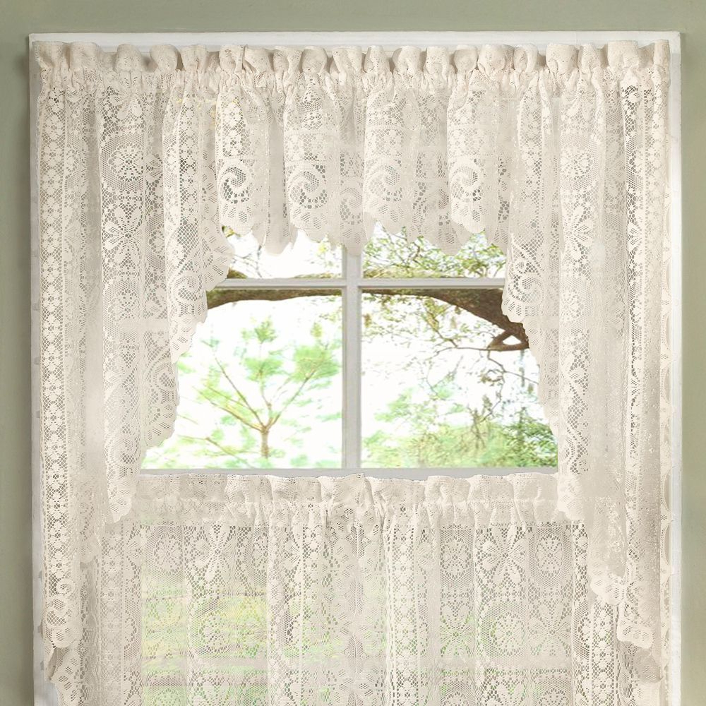 Cotton Lace 5 Piece Window Tier And Swag Sets For 2021 Luxurious Old World Style Lace Kitchen Curtains Tiers And (View 19 of 20)