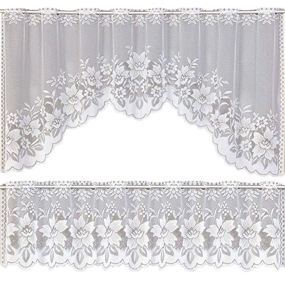 Cotton Lace 5 Piece Window Tier And Swag Sets Pertaining To Well Known Amazon: Updd 2 Pieces Lace Window Tier Curtain Set (View 6 of 20)