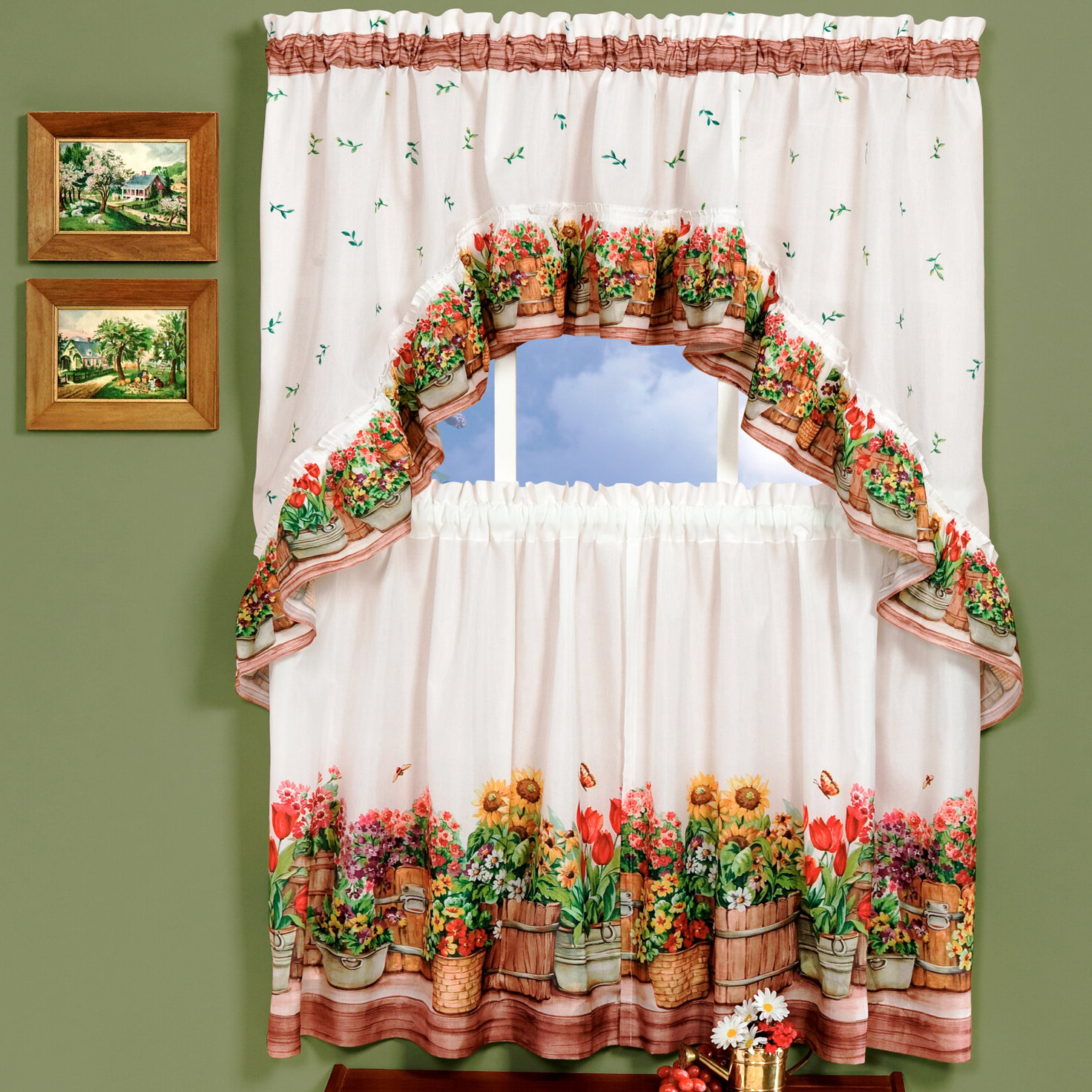 Country Garden Valance And Tier Set Pertaining To Widely Used Chardonnay Tier And Swag Kitchen Curtain Sets (View 9 of 20)