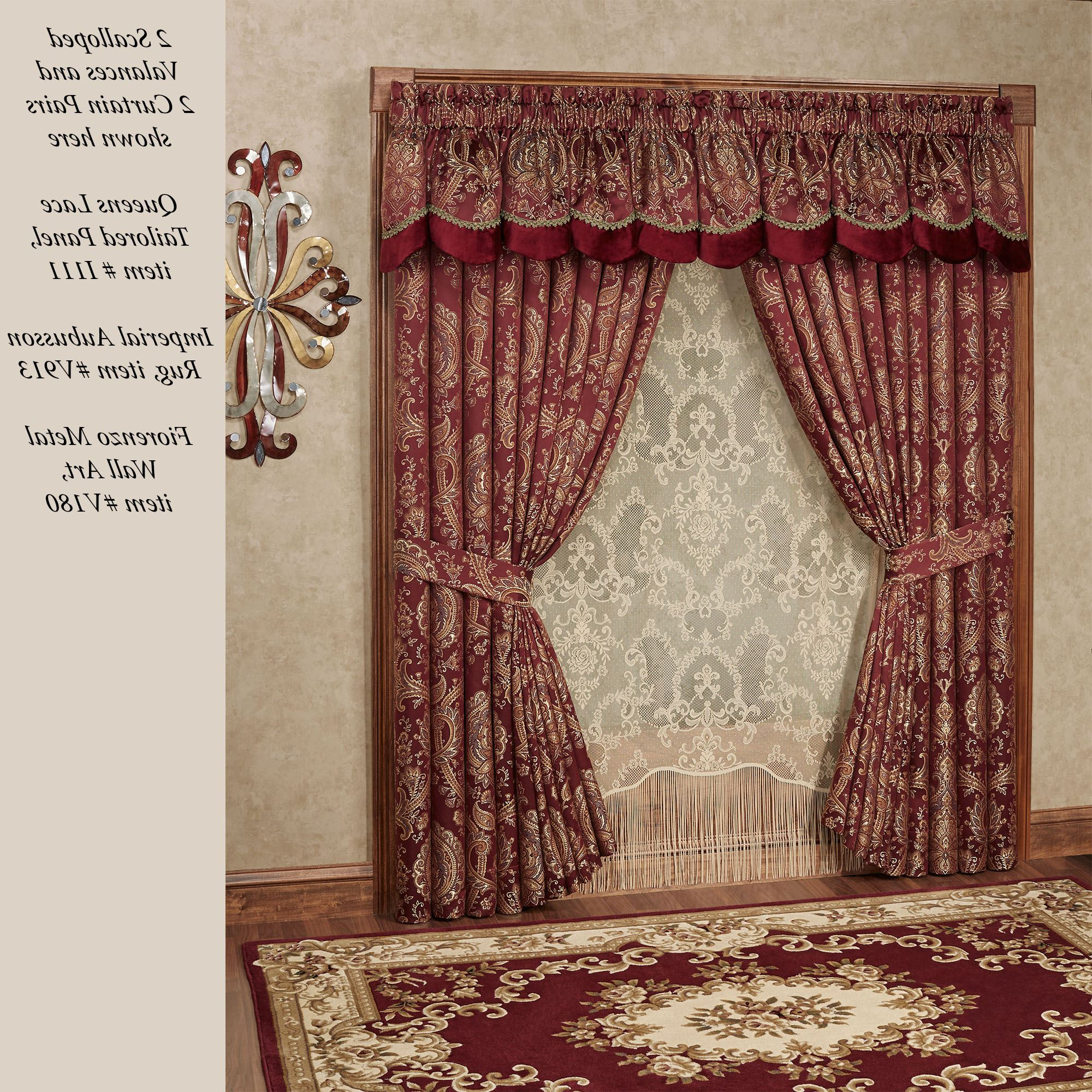 Courtland Cordovan Medallion Scalloped Valance Window Treatment Throughout Most Current Imperial Flower Jacquard Tier And Valance Kitchen Curtain Sets (View 18 of 20)