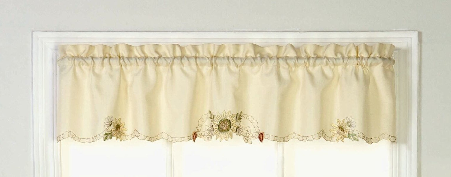 "Cripe Embroidered Sunflower Tailored Kitchen 60"" Window Valance With Regard To Fashionable Sunflower Cottage Kitchen Curtain Tier And Valance Sets (View 19 of 20)"