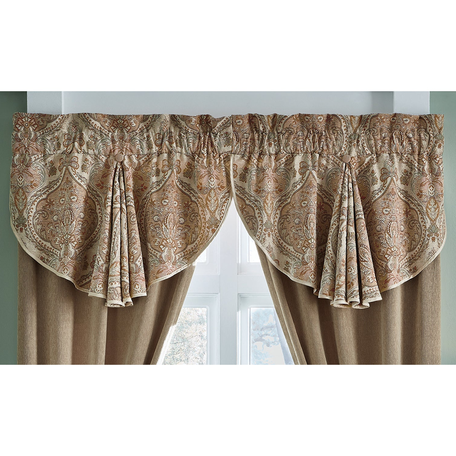 Croscill Birmingham Muticolor 24 Inch Circle Curtain Valance – 42 X 24 For Well Liked Circle Curtain Valances (View 10 of 20)