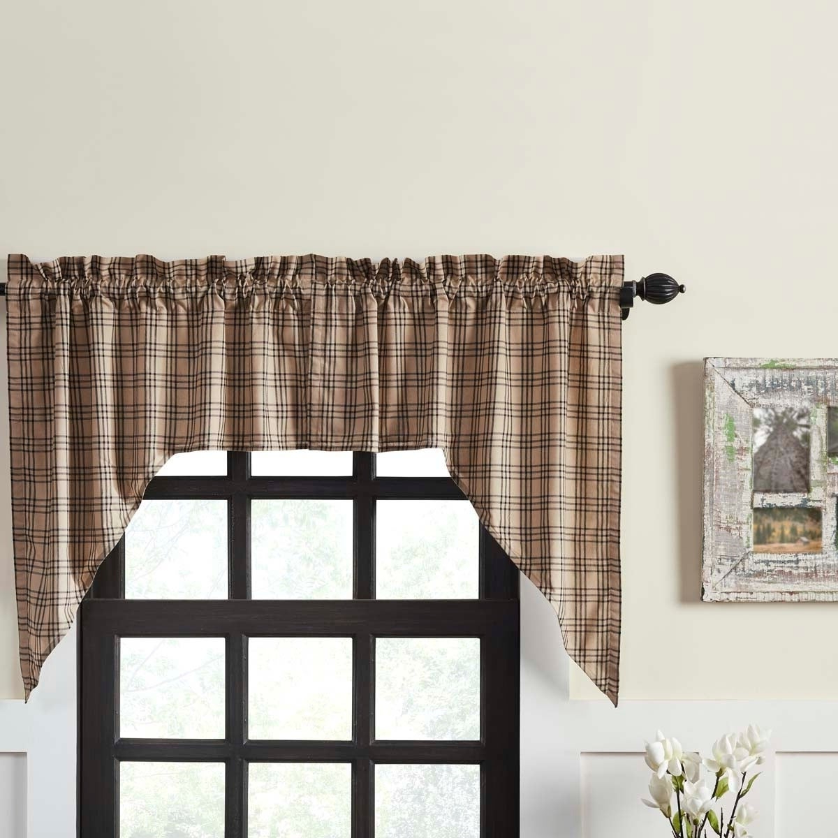 Cumberland Tier Pair Rod Pocket Cotton Buffalo Check Kitchen Curtains In Most Up To Date Details About Farmhouse Kitchen Curtains Vhc Sawyer Mill Plaid Swag Pair (View 9 of 20)