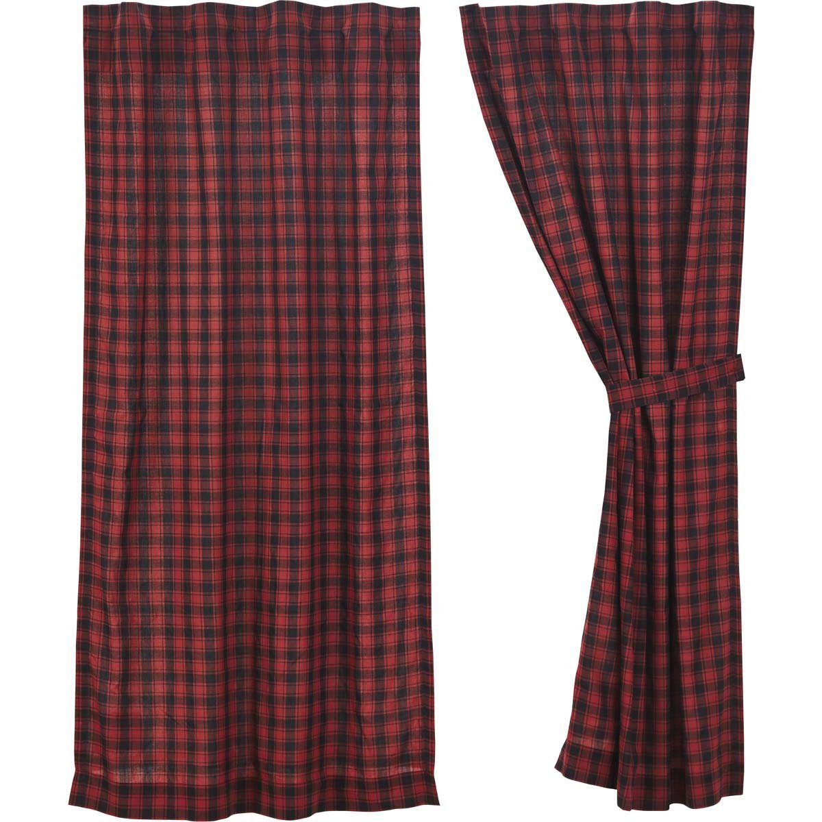 Cumberland Tier Pair Rod Pocket Cotton Buffalo Check Kitchen Curtains Inside Current Amazon: Vhc Brands Rustic & Lodge Window Cumberland Red (View 11 of 20)