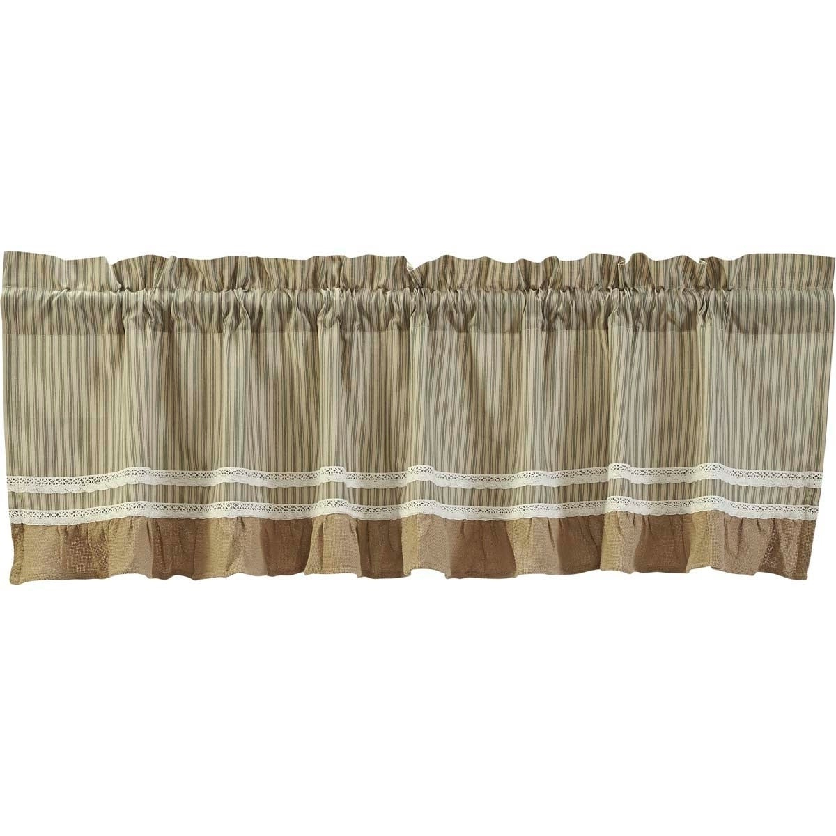 Cumberland Tier Pair Rod Pocket Cotton Buffalo Check Kitchen Curtains With Regard To Widely Used Details About Farmhouse Kitchen Curtains Vhc Kendra Stripe Valance Rod (View 13 of 20)