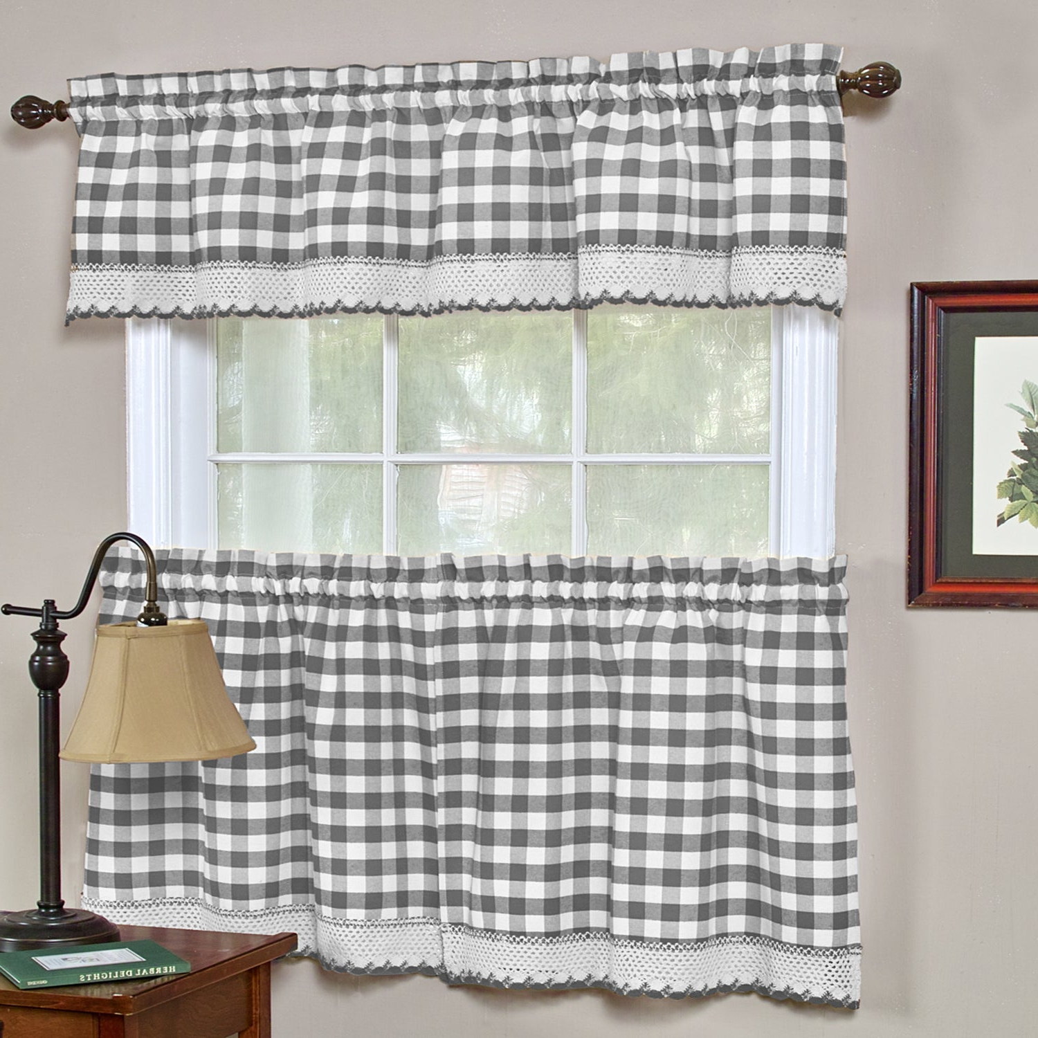 Cumberland Tier Pairs In Dove Gray In Most Popular Buffalo Check Cotton Blend Grey Kitchen Curtain Tier Pair (View 12 of 20)