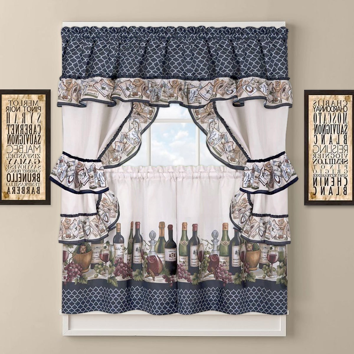 Current 5 Piece Burgundy Embroidered Cabernet Kitchen Curtain Sets In Chateau Wines Cottage Kitchen Curtain Tier And Valance Set (View 5 of 20)