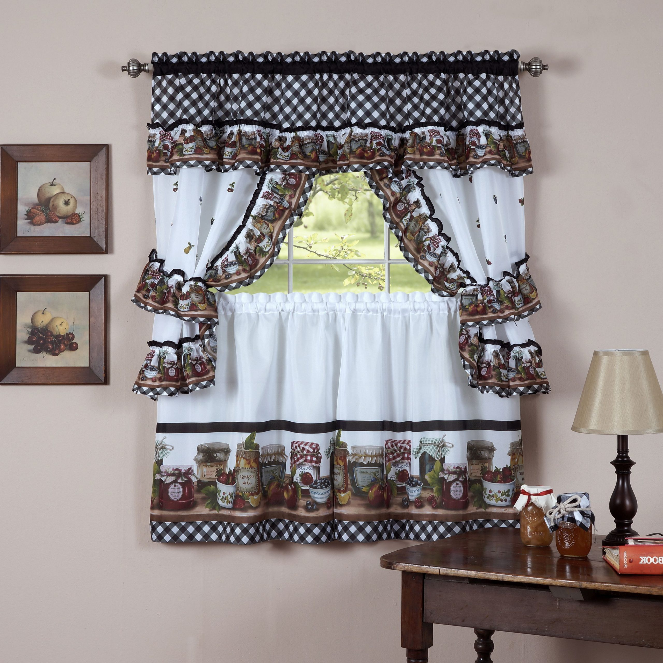 Current Chateau Wines Cottage Kitchen Curtain Tier And Valance Sets Inside Complete Cottage Curtain Set With Homemade Country Jams And (View 6 of 20)