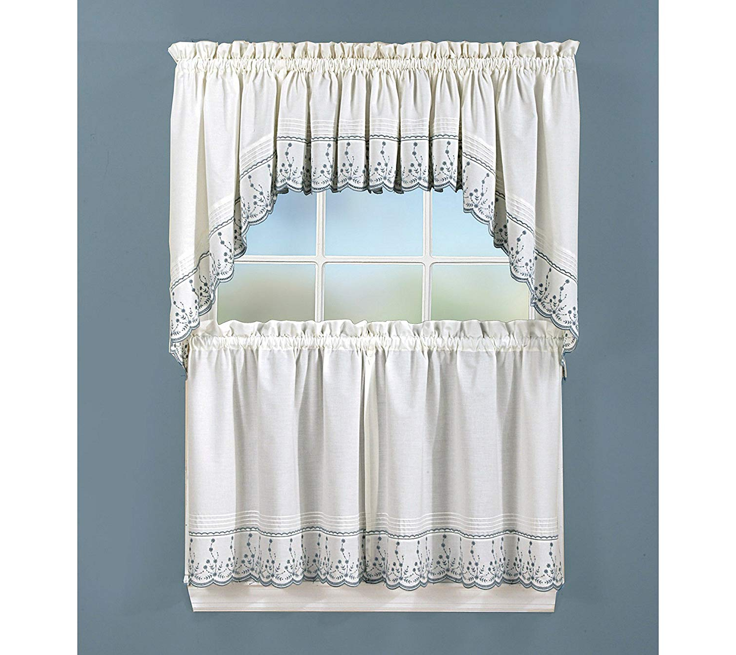 Featured Photo of Abby Embroidered 5 Piece Curtain Tier And Swag Sets