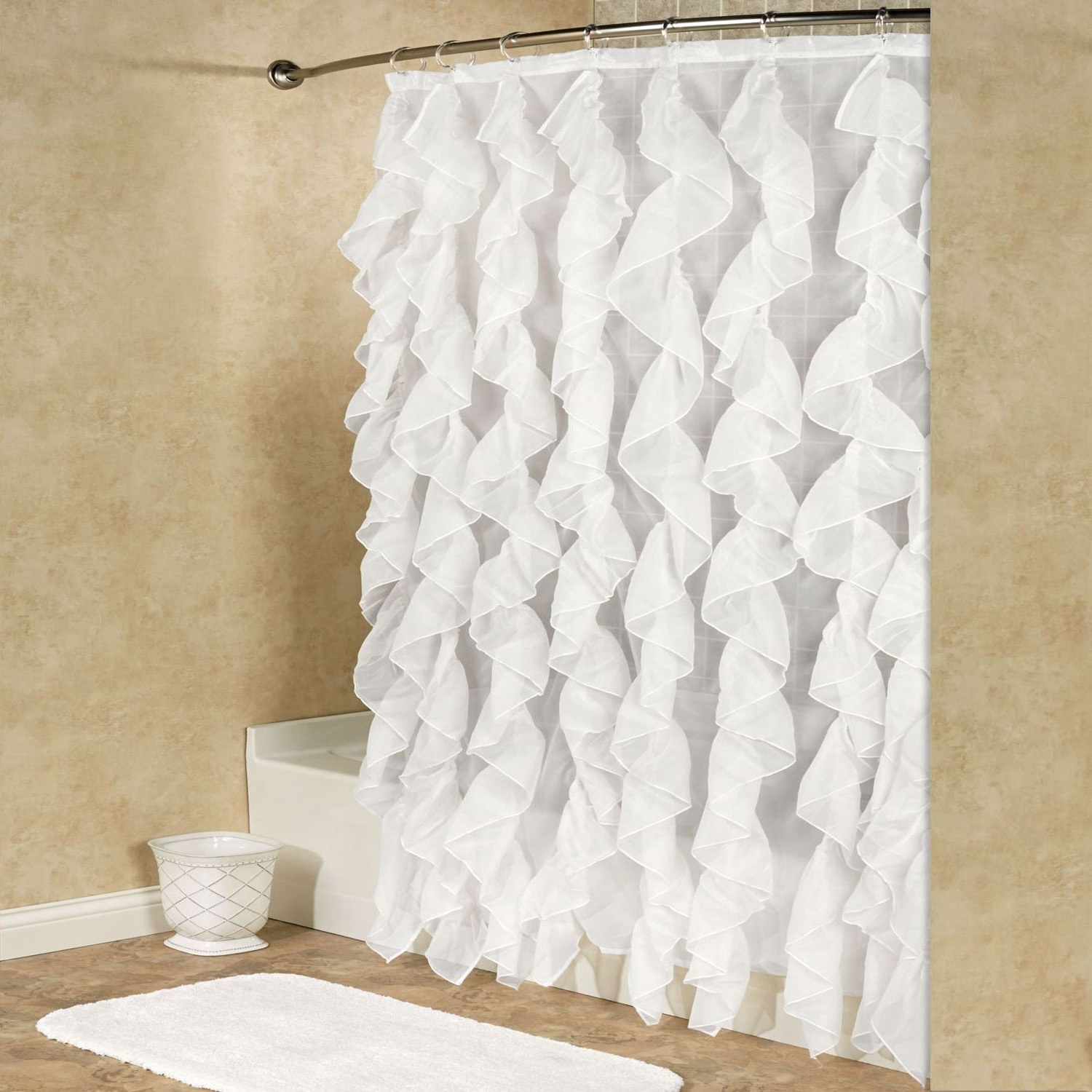 Current Chic Sheer Voile Vertical Waterfall Ruffled Shower Curtain For Silver Vertical Ruffled Waterfall Valance And Curtain Tiers (View 5 of 20)
