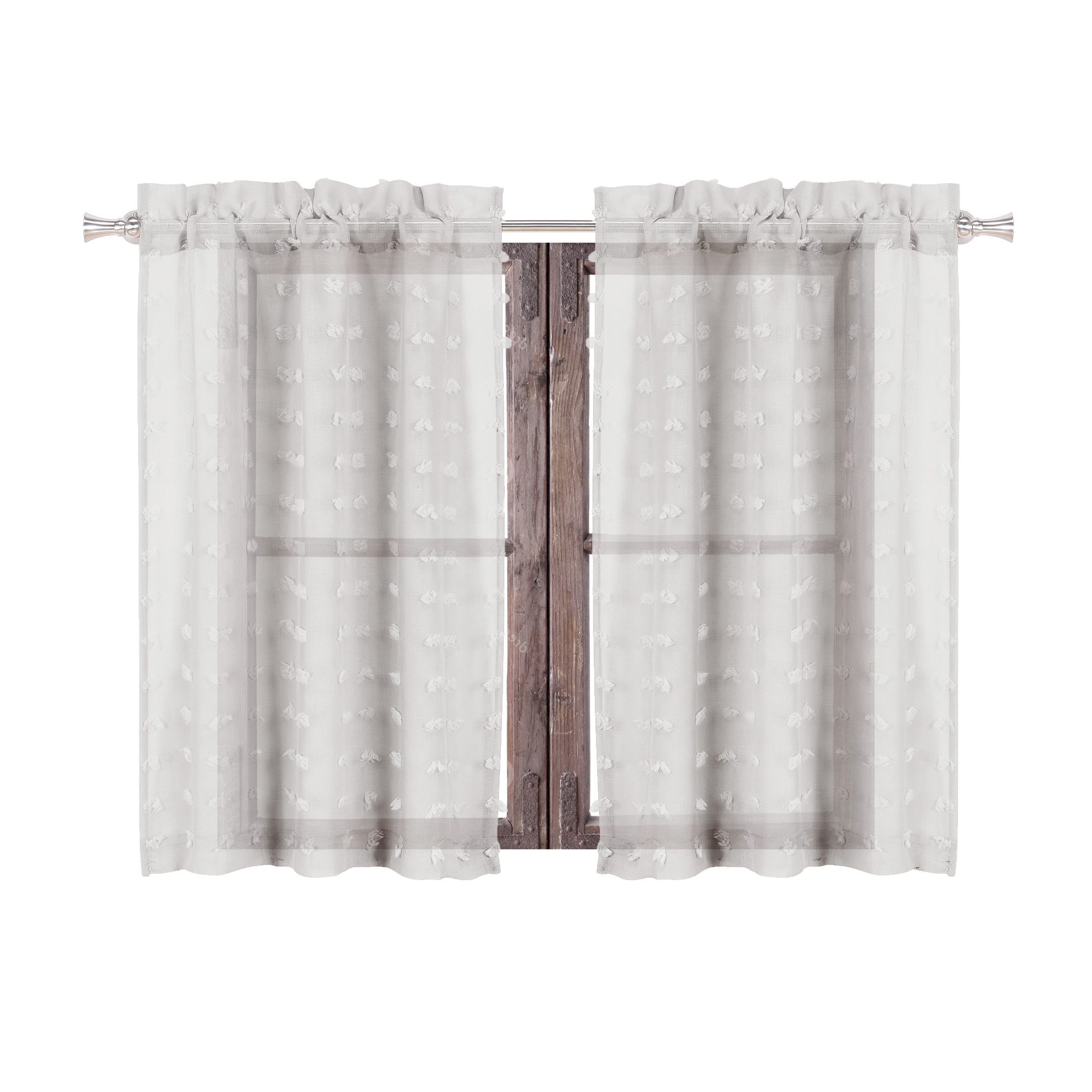 Current Cotton Blend Grey Kitchen Curtain Tiers Pertaining To Sheer 2 Piece Silver Café/tier Curtain Set: 3 D Soft Tufts (View 10 of 20)