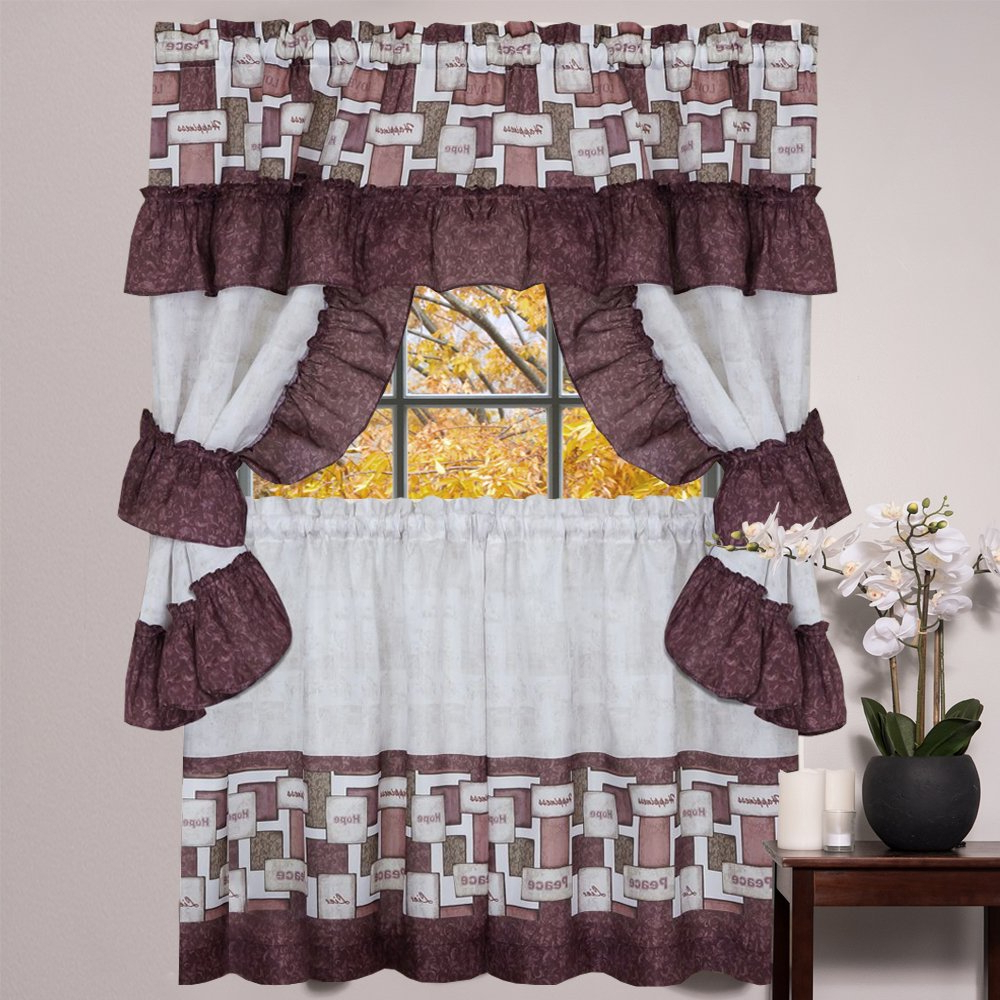 "Current Cotton Lace 5 Piece Window Tier And Swag Sets Inside Sweet Home Collection 5 Piece Kitchen Curtain Set With Tier Pair, Tiebacks, And Valance 36"", Camel (View 12 of 20)"