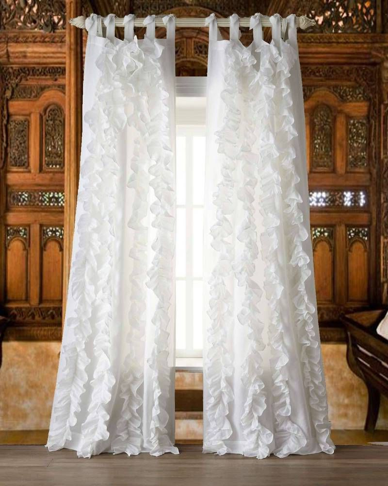 Current Details About 2 Pcs Charming Country Style Pink Flower Sheer Within Chic Sheer Voile Vertical Ruffled Window Curtain Tiers (View 10 of 20)