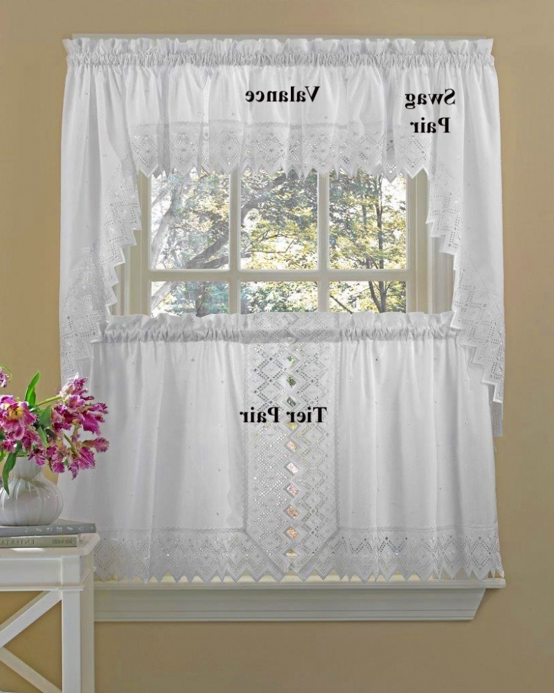 Current Fluttering Butterfly White Embroidered Tier, Swag, Or Valance Kitchen Curtains Intended For Easy Swag Curtains For Kitchen (View 9 of 20)