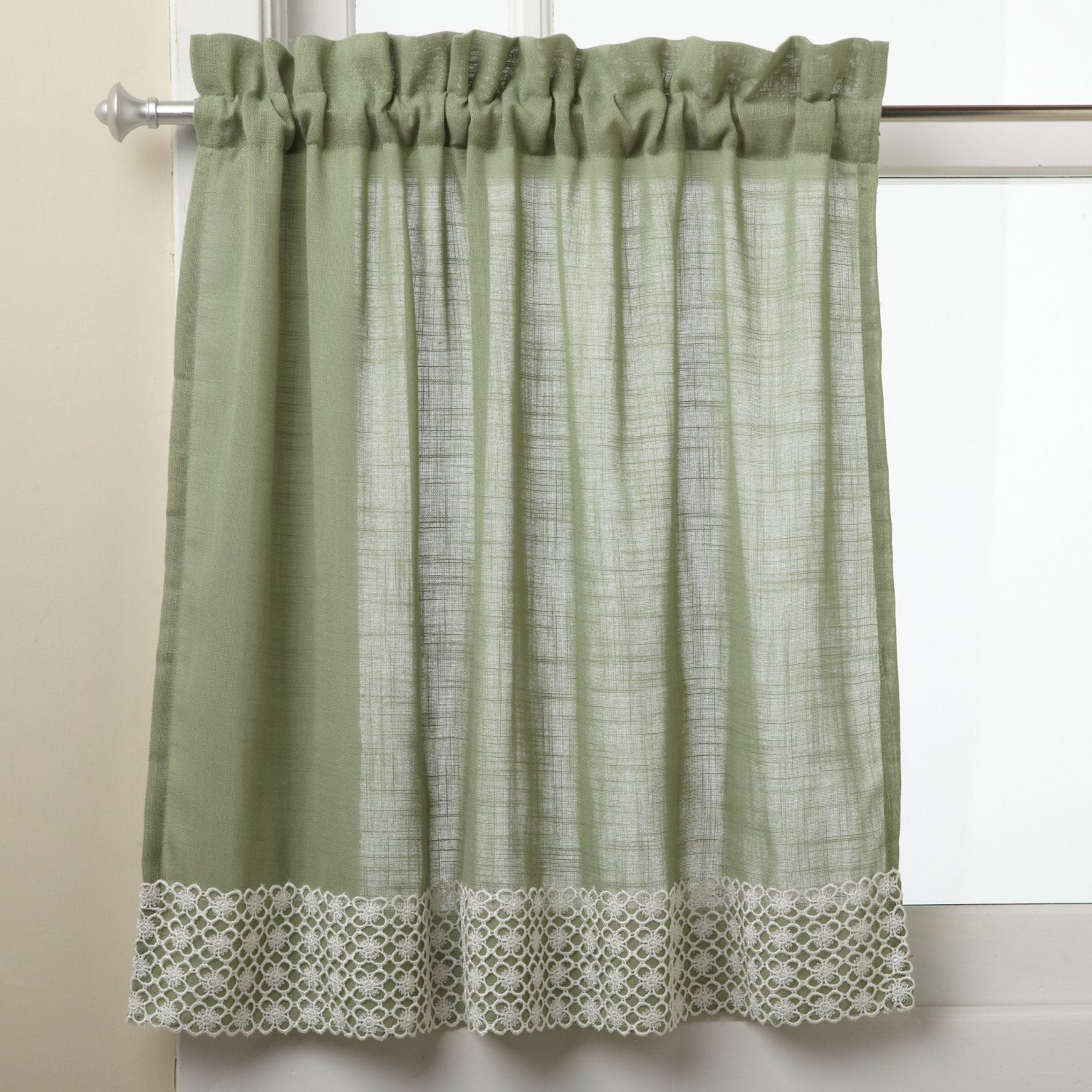 Current French Vanilla Country Style Curtain Parts With White Daisy Lace Accent With Regard To Sage Country Style Curtain Parts With White Daisy Lace Accent  (Separates Tiers, Swags And Valances) (View 4 of 20)