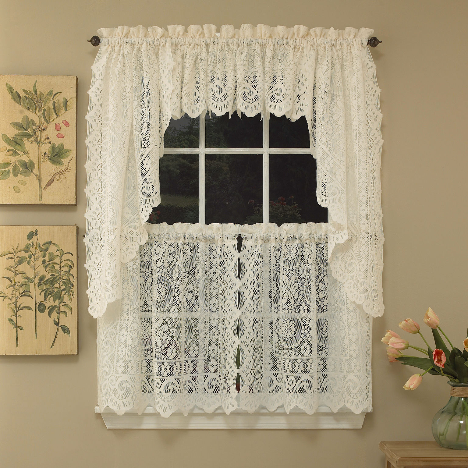 Current Hopewell Heavy Cream Lace Kitchen Curtain Choice Of Tier Valance Or Swag Regarding Luxurious Kitchen Curtains Tiers, Shade Or Valances (View 7 of 20)