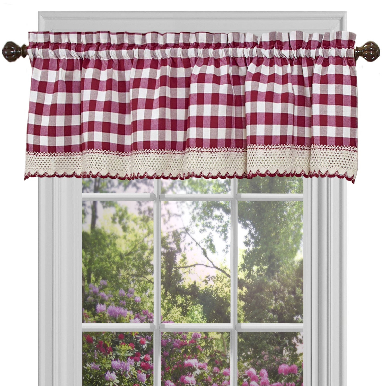 Current Kitchen Burgundy/white Curtain Sets Throughout Classic Buffalo Check Kitchen Burgundy/white Curtain Set Or Separates (View 6 of 20)