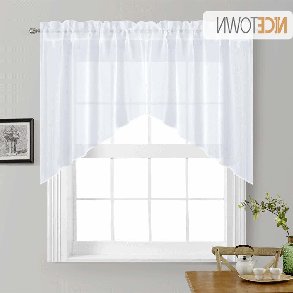 Current Linen Stripe Rod Pocket Sheer Kitchen Tier Sets With Regard To Nicetown White Rod Pocket Faux Linen Textured Swags Kitchen Curtains Valance Sheer For Home Decor Small Window, 1 Pair (View 19 of 20)