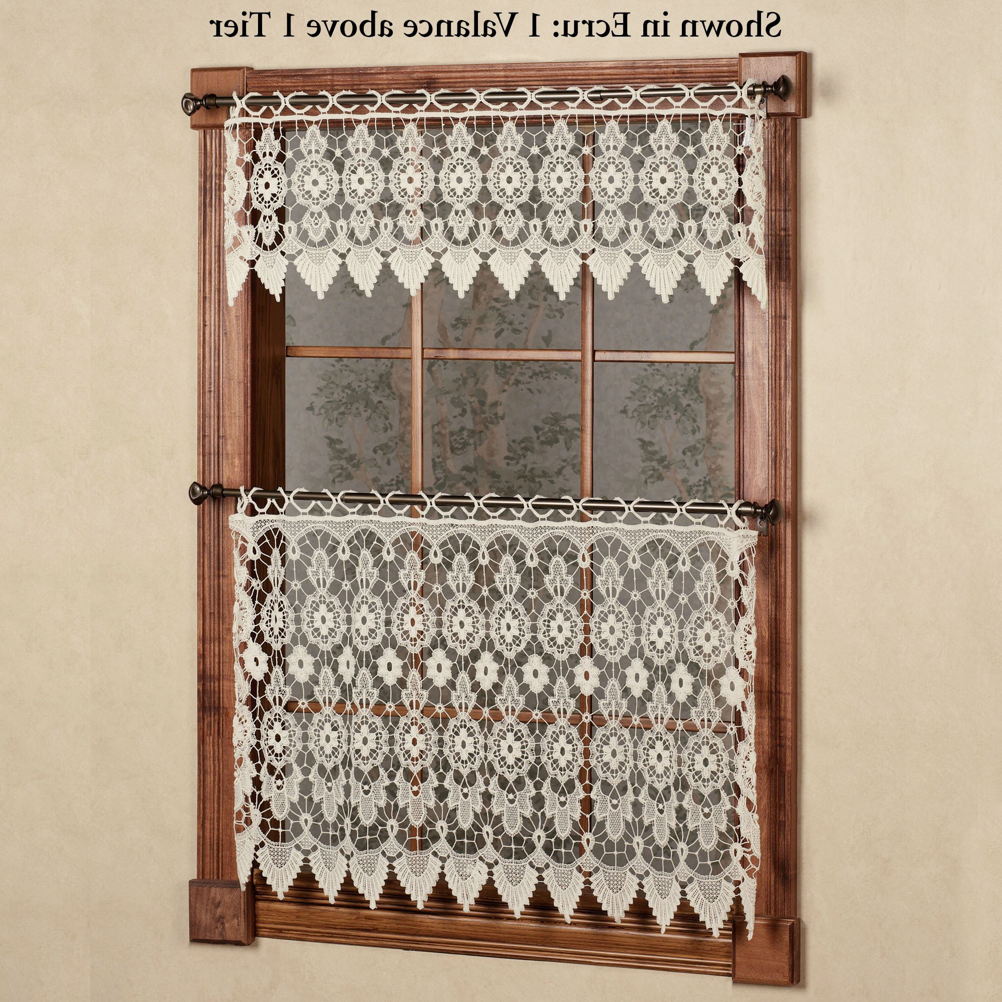 Current Medallion Window Curtain Valances Throughout Medallion Macrame Lace Tier Window Treatment (View 16 of 20)
