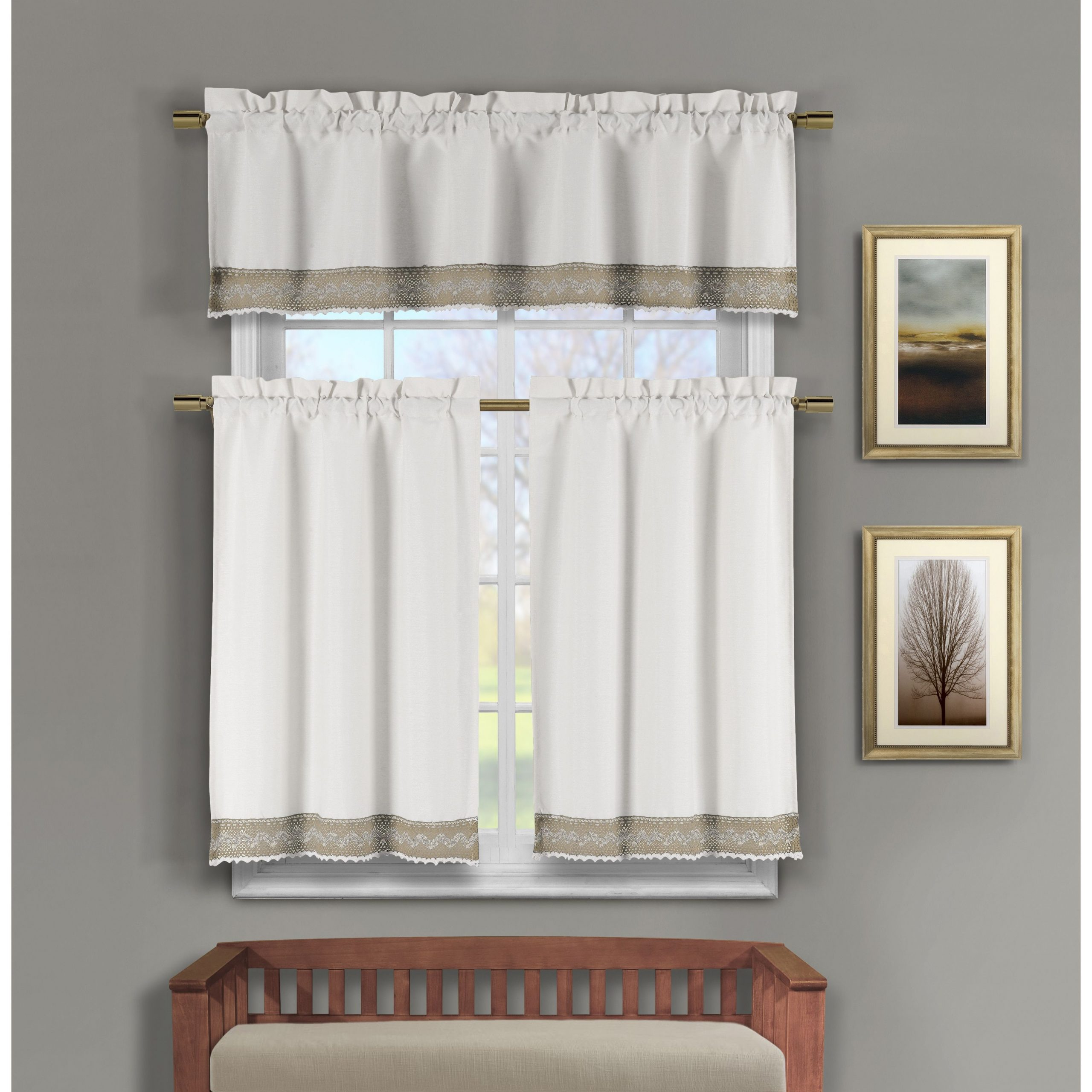 Current Modern Subtle Texture Solid Red Kitchen Curtains Intended For Duck River Zoey Crochet 3 Piece Kitchen Curtain Tier – 15 X (View 18 of 20)