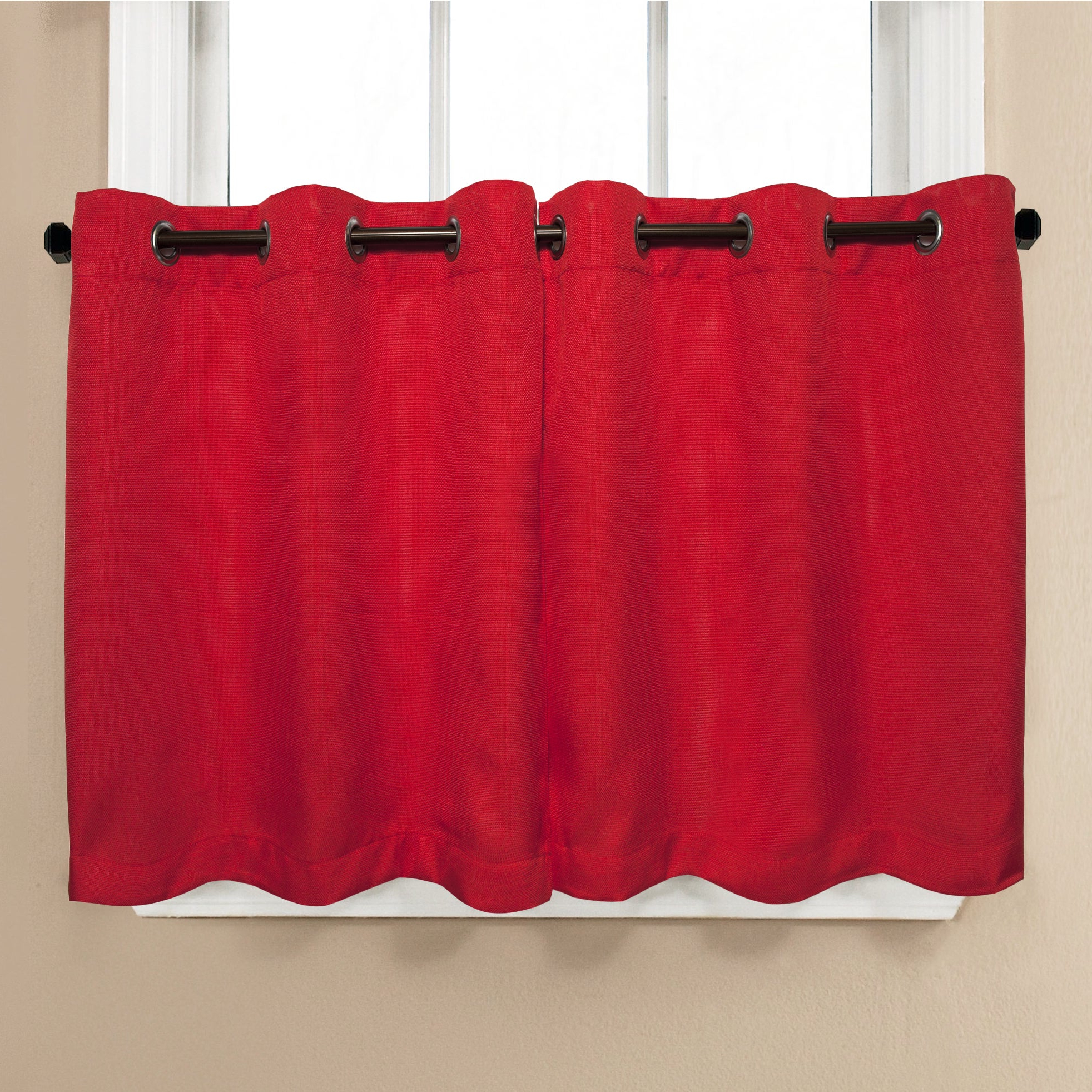 Current Modern Subtle Texture Solid White Kitchen Curtain Parts With Grommets Tier And Valance Options Pertaining To Modern Subtle Texture Solid Red Kitchen Curtain Parts With Grommets Tier And Valance Options (View 6 of 20)