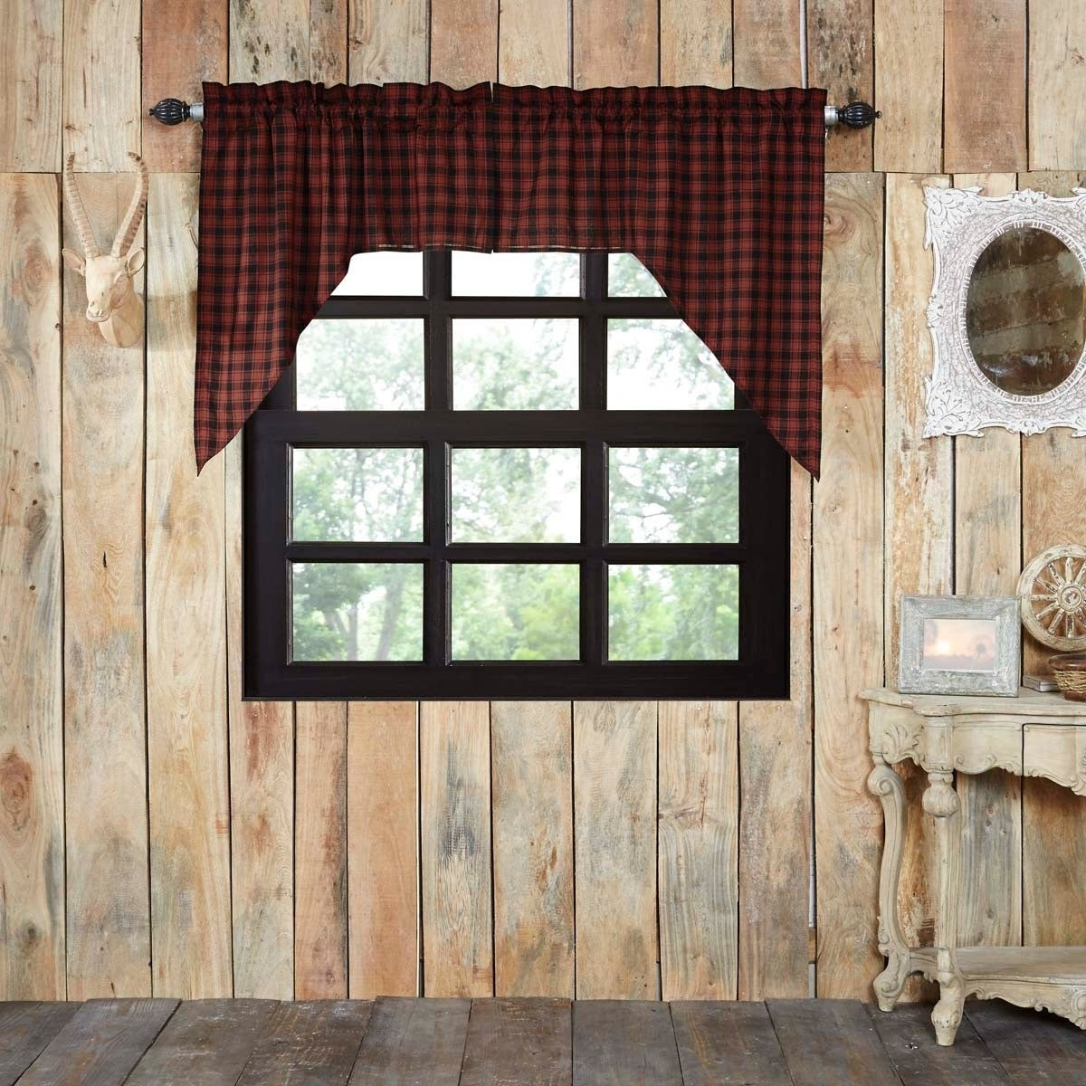 Featured Photo of Cumberland Tier Pair Rod Pocket Cotton Buffalo Check Kitchen Curtains